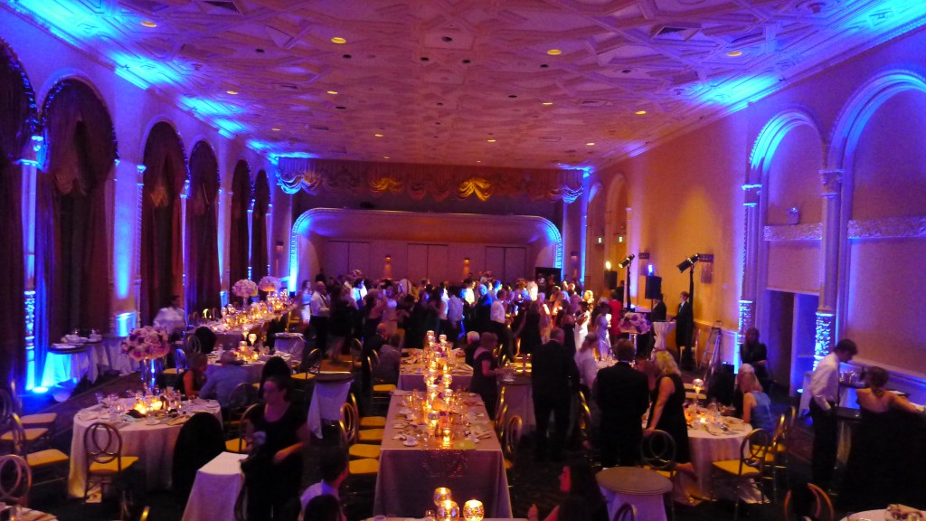 Sound In Motion providing the DJ/MC, lighting design and a jam packed dance floor for this wedding at The Mark Hopkins Hotel, San Francisco