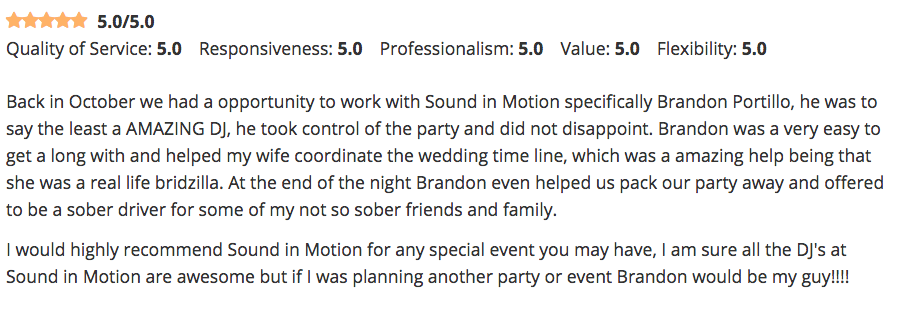 One of over 170 reviews on WeddingWire.Com