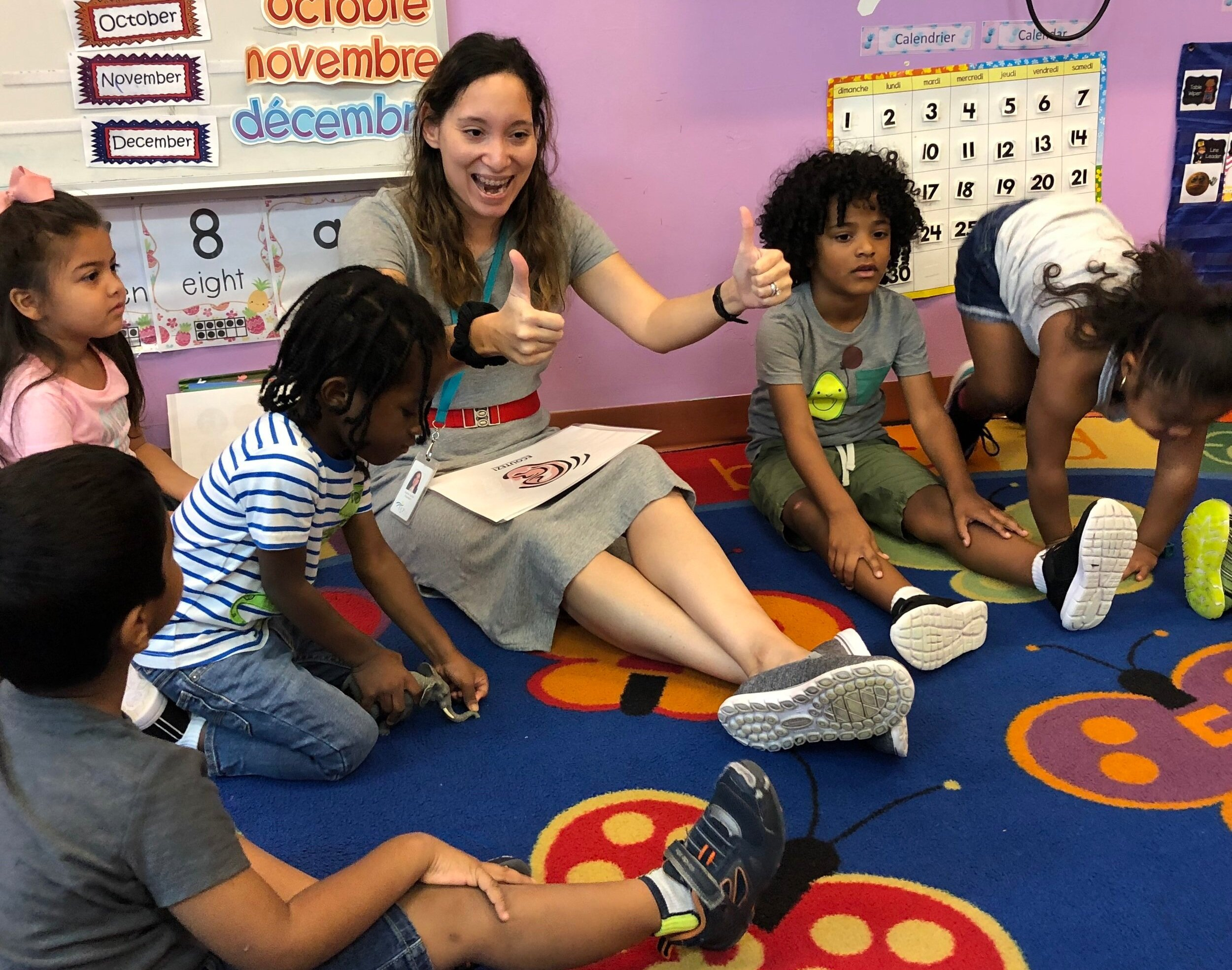 Trilingual Teacher Sophie Posey leads her French Immersion Pre-K class during circle time.