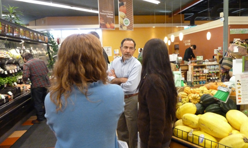 Visiting with folks at The Merc, a cooperative grocer that has been at the forefront of the local and organic food movement in Lawrence, Kansas