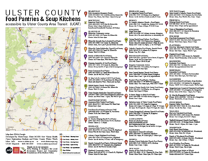 Map of Ulster County Food Pantries, Soup Kitchens and UCAT bus lines, developed by UlsterCorps, Ulster BOCES New Visions Health Career Explorations Students and Ulster County Winter Watch. -