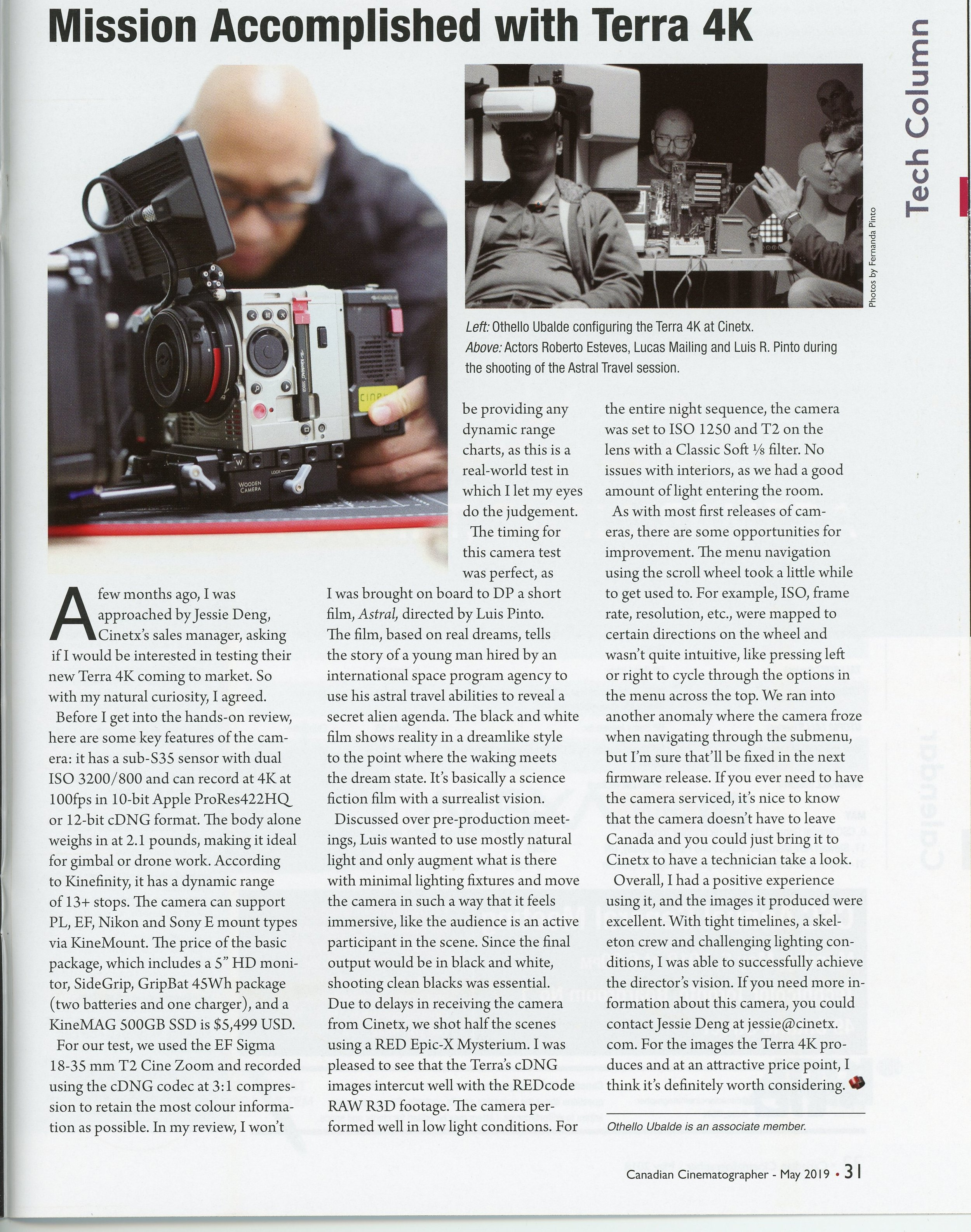 Canadian Cinematographer, May 2019.