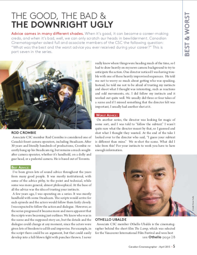 Canadian Cinematographer, April 2015.