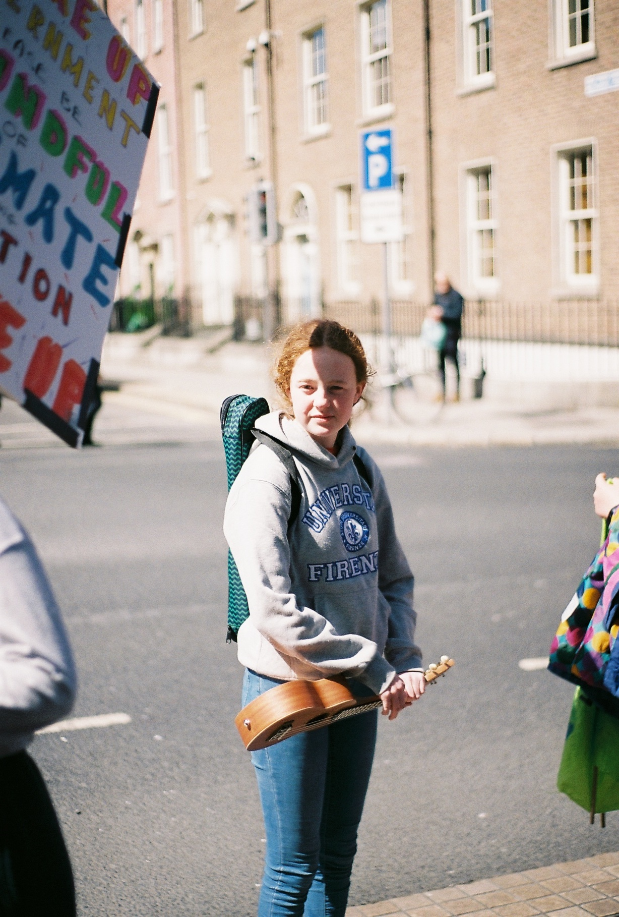 Saoirse striking outside The Dail. Photo by Laragh McCann
