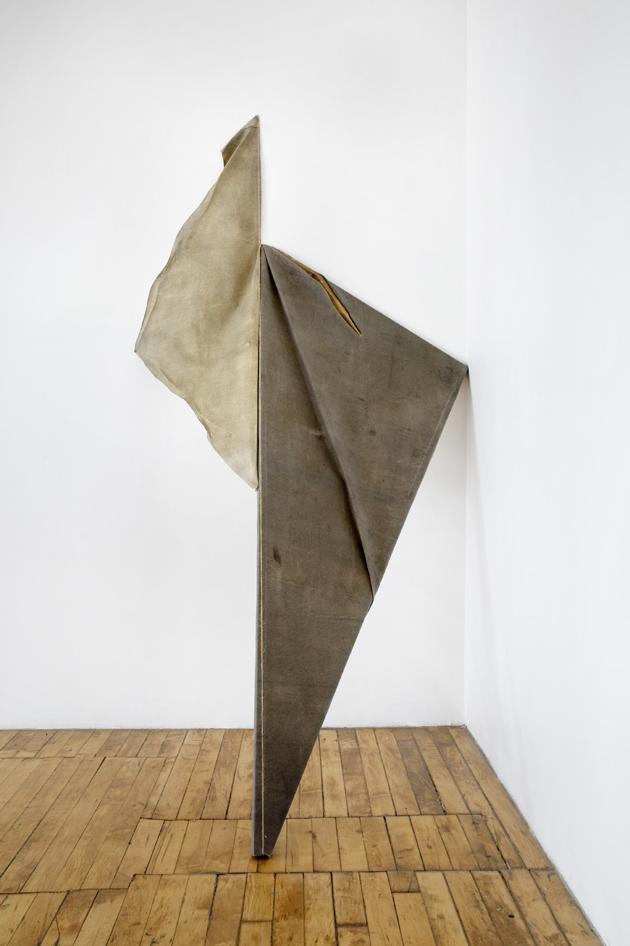 "LEAN II — 2015 sculpted sandpaper and dry pigment on canvas, wood, rope; 78"" × 42"" × 38"""