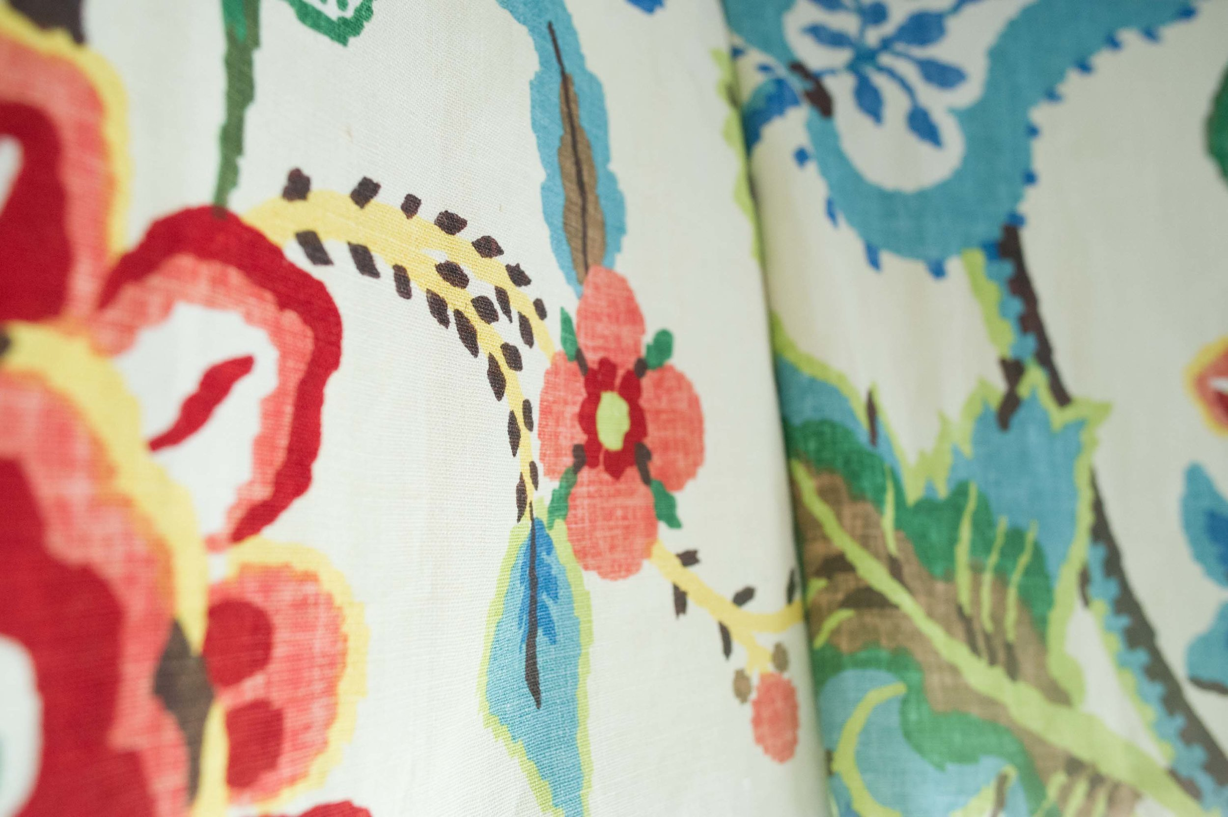 Fabric with floral printed design