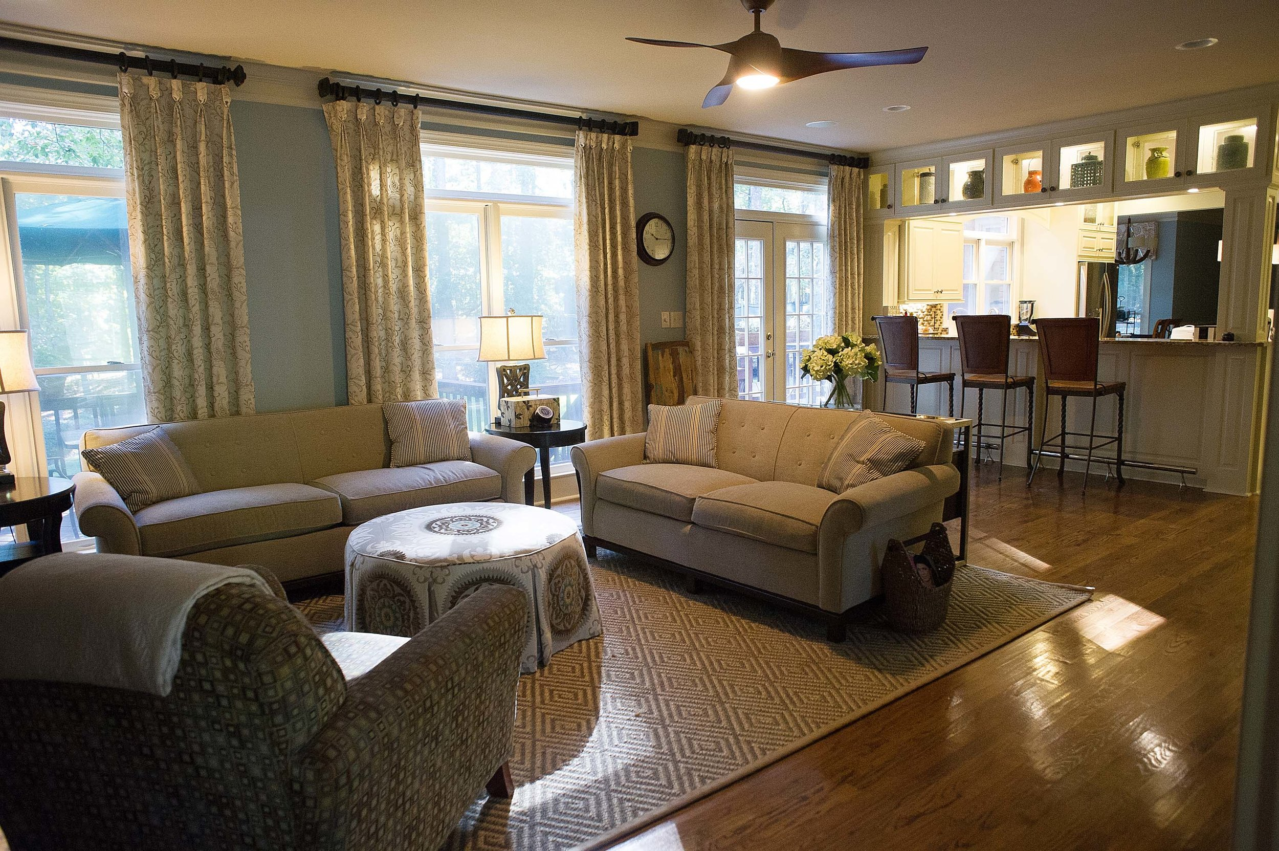 Modern living room with breakfast bar