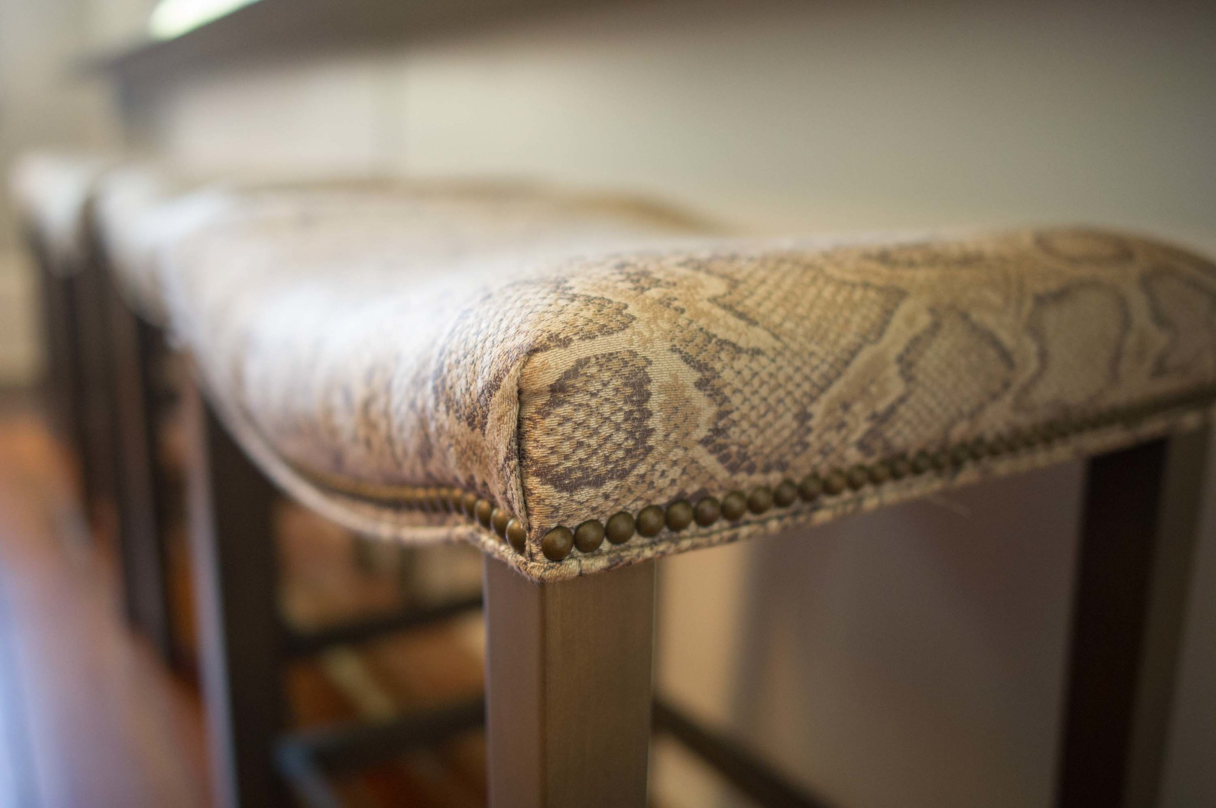 Snake skin texture on wooden chair