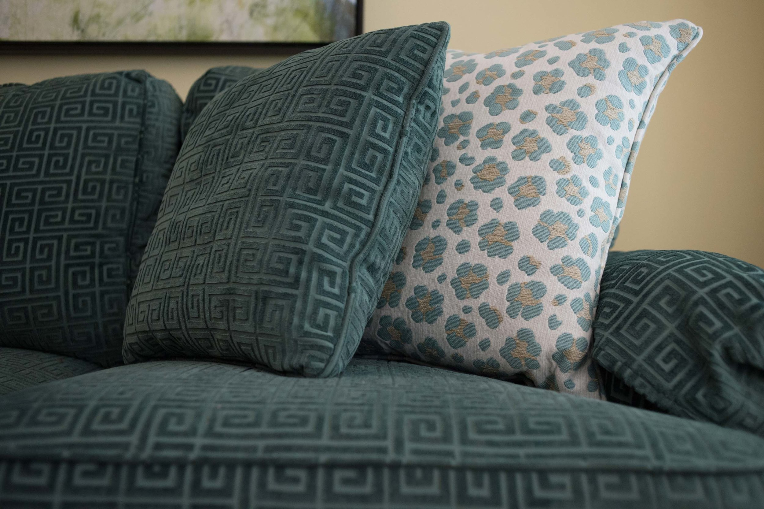Set of pillows on the sofa