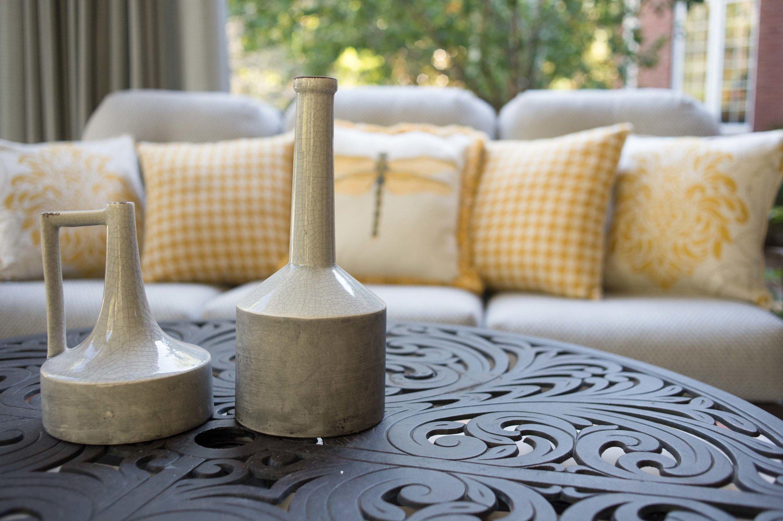 Ceramic bottle on a modern style center table