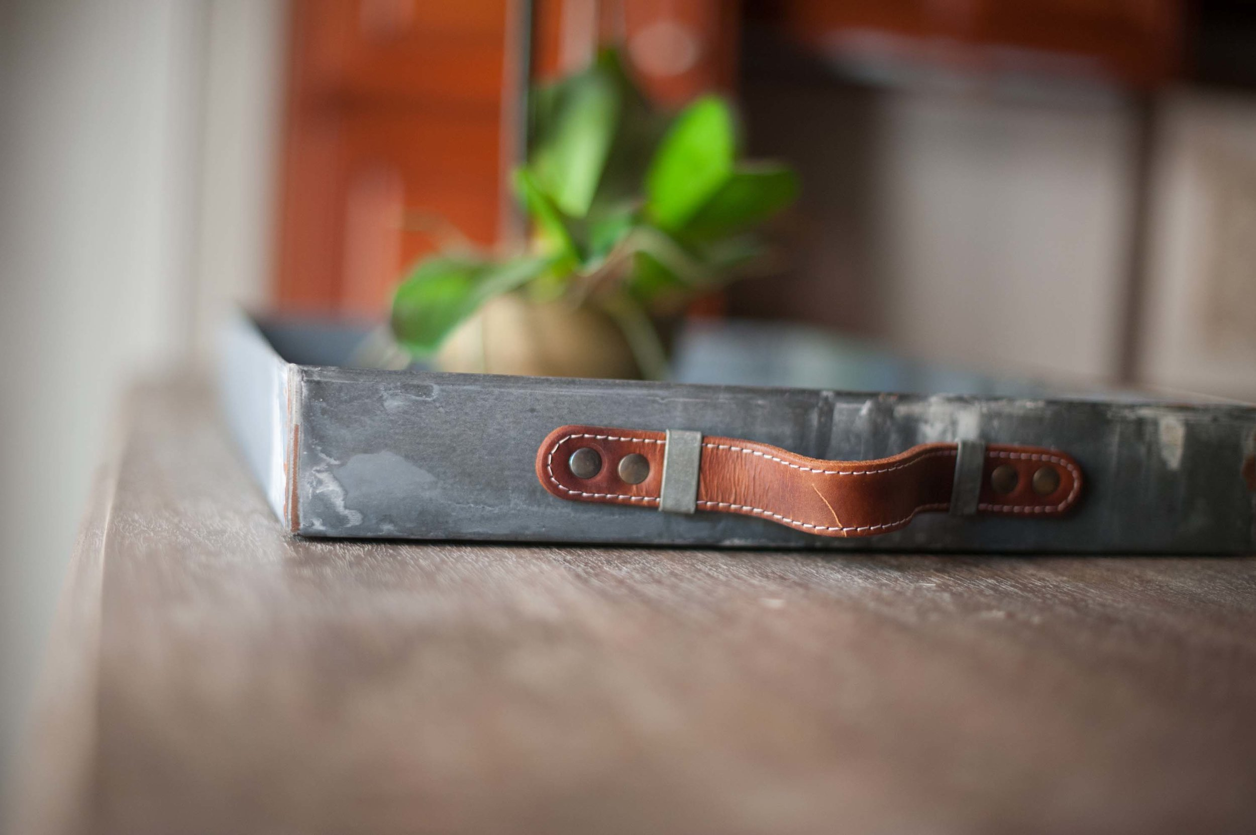Aluminum tray with leather handle