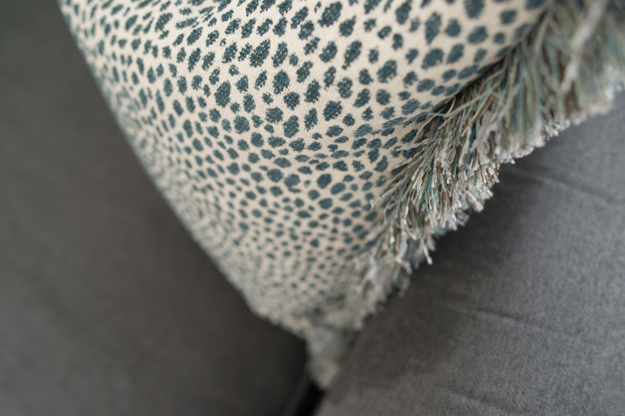 Lee Jofa fabric Pillow with Fringe on Sofa
