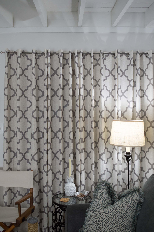 Fabric Window Treatments with Sofa & Lamp