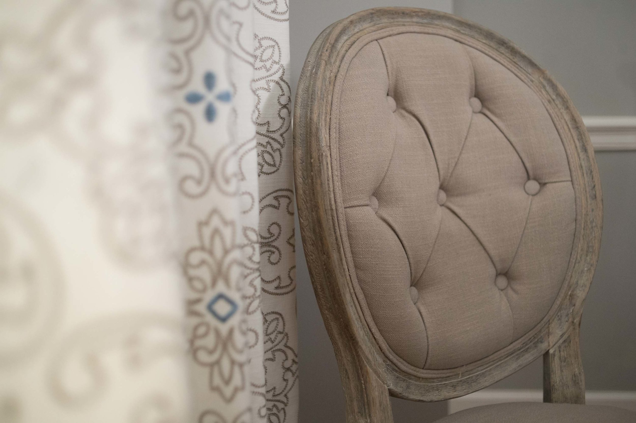 Dining Room Chair with Window Treatment Fabric