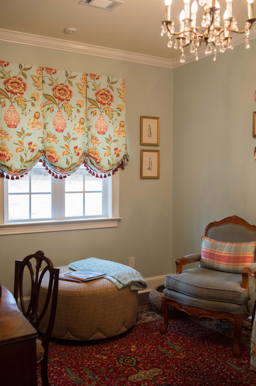 Custom Window Treatment with Blue Walls