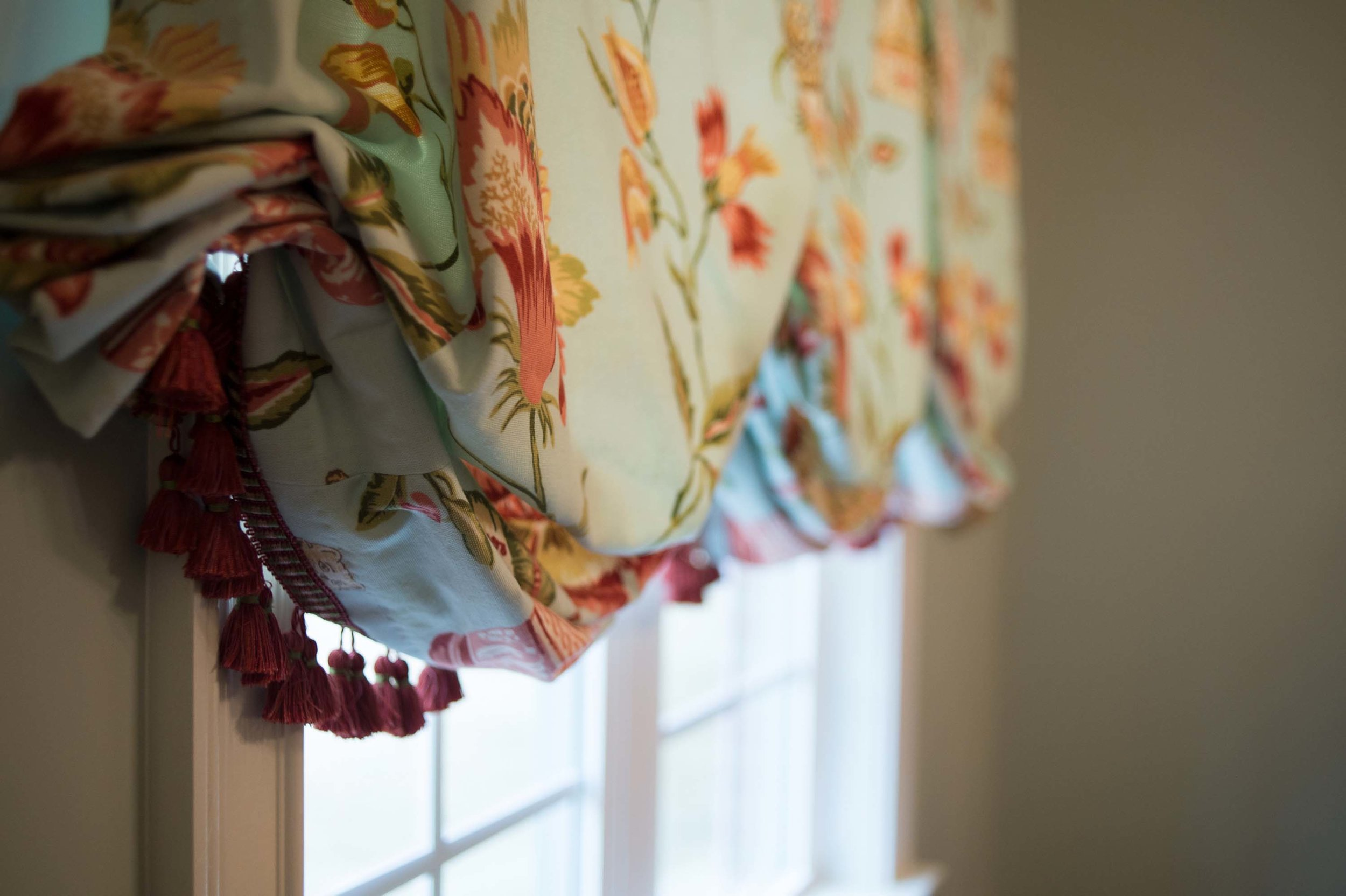 Printed Fabric Balloon Shade with Fringe