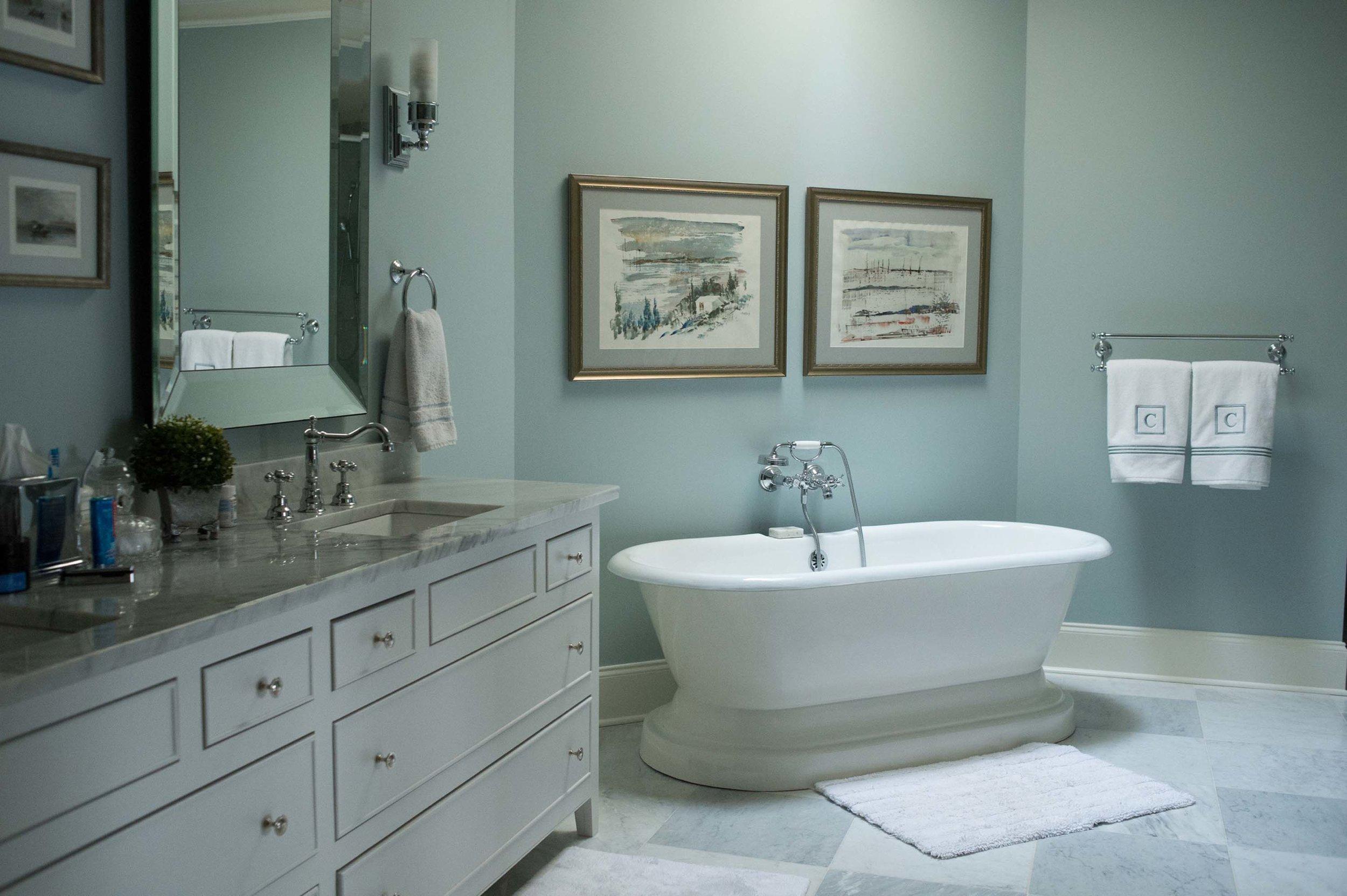 Master Bathroom with Large Tub, Artwork & Tile Floors