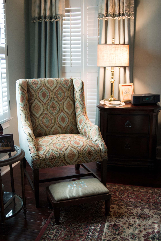 Printed Chair with Custom Window Treatments & Nightstand