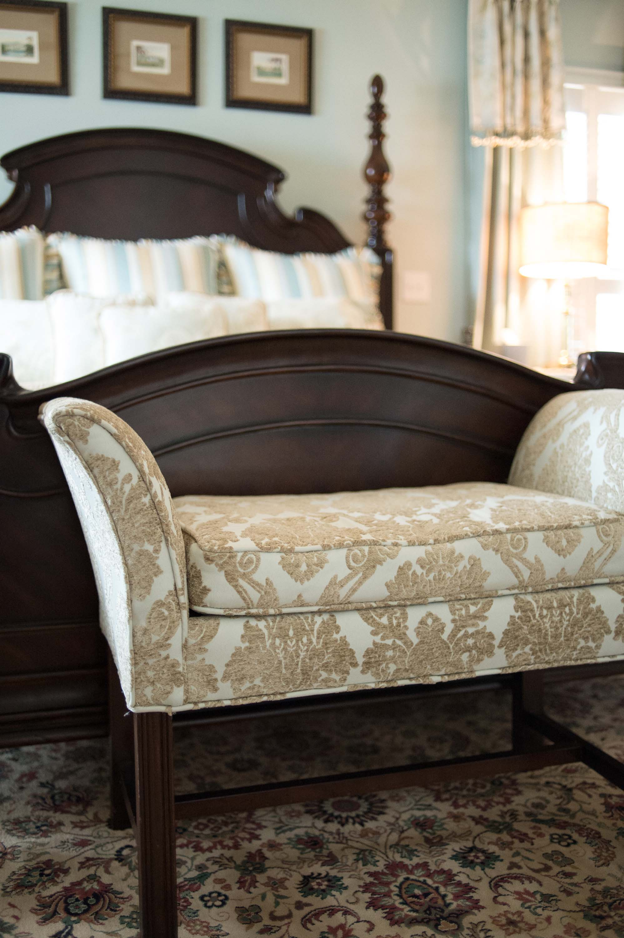 Custom Fabric Printed Bench with King Bed & Artwork