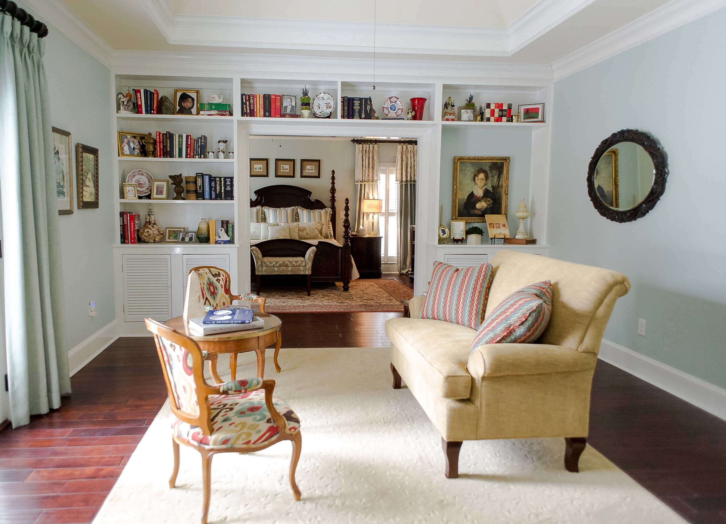 Sitting Room with Sofa & 2 Chairs that is connected to Master Bedroom
