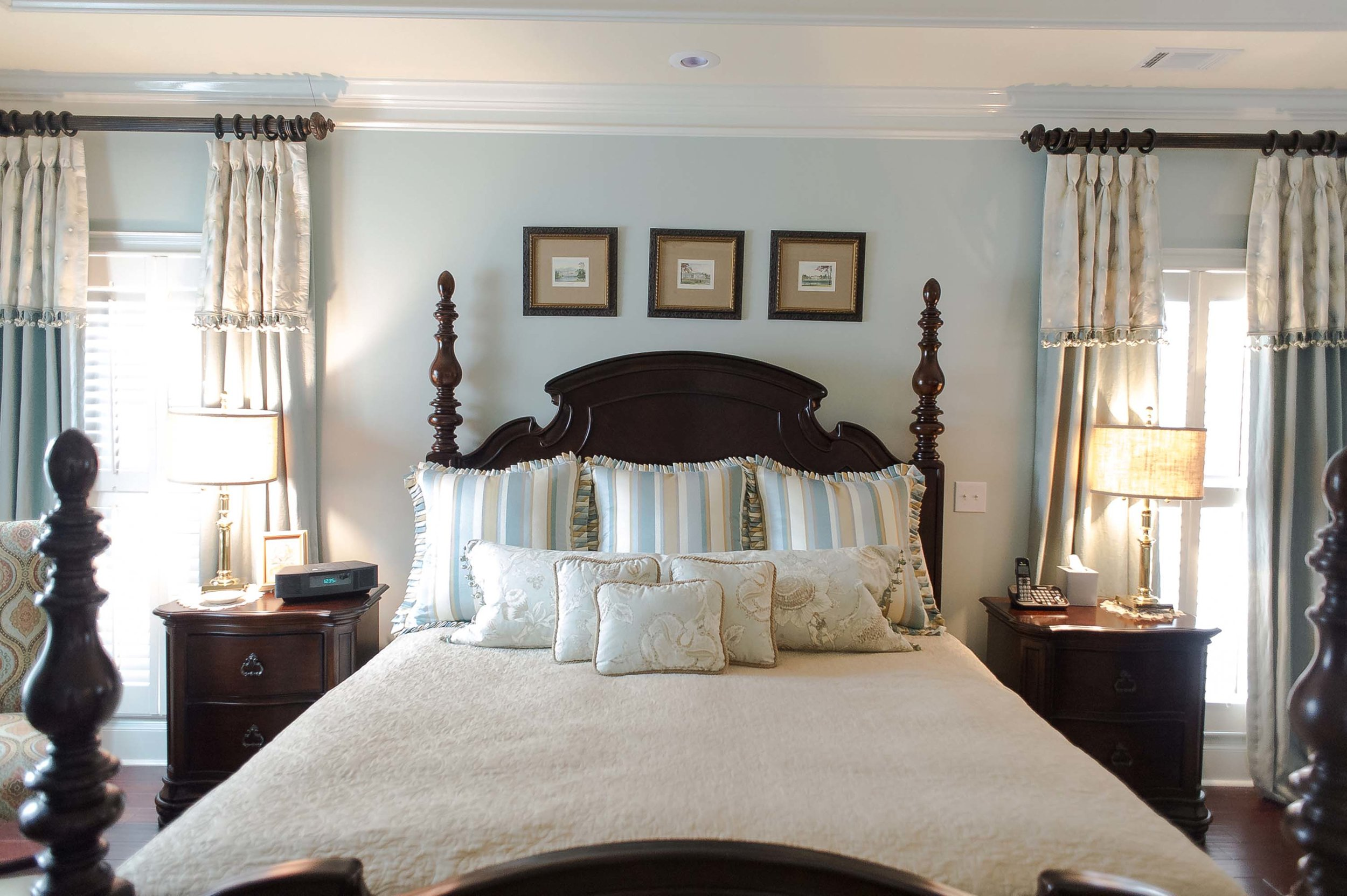 Master Bedroom with Artwork, Pillows, Window Treatments & Lamps