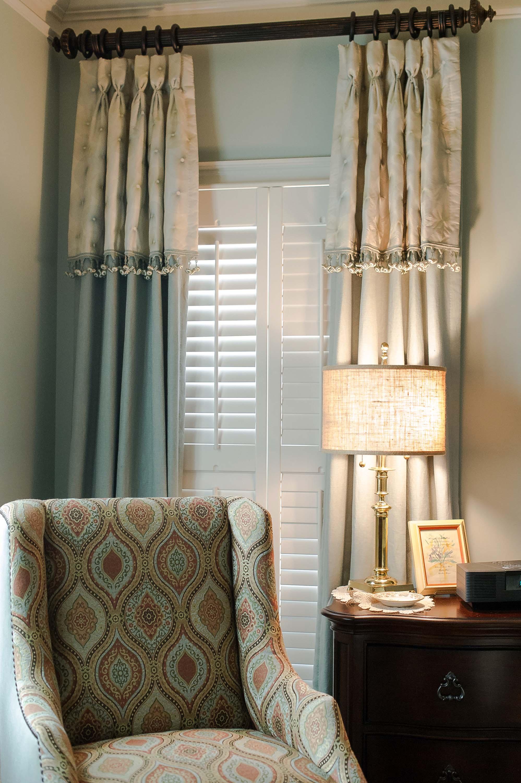 Custom Window Treatments, Custom Chair, Lamp & Nightstand