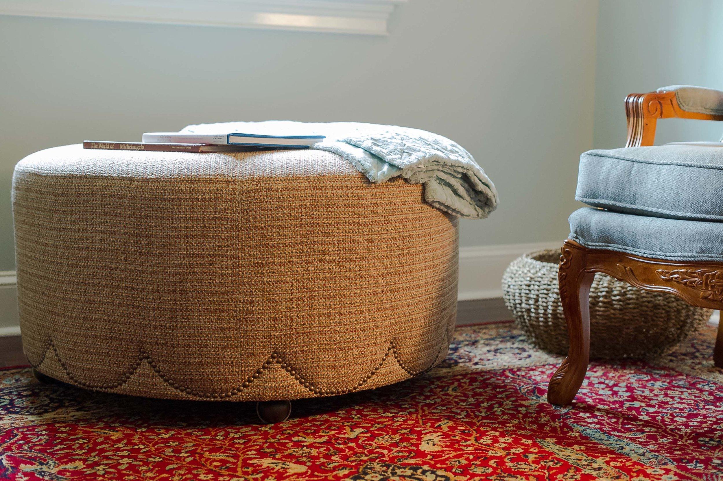Custom Ottoman, Custom Chair & Large Area Rug