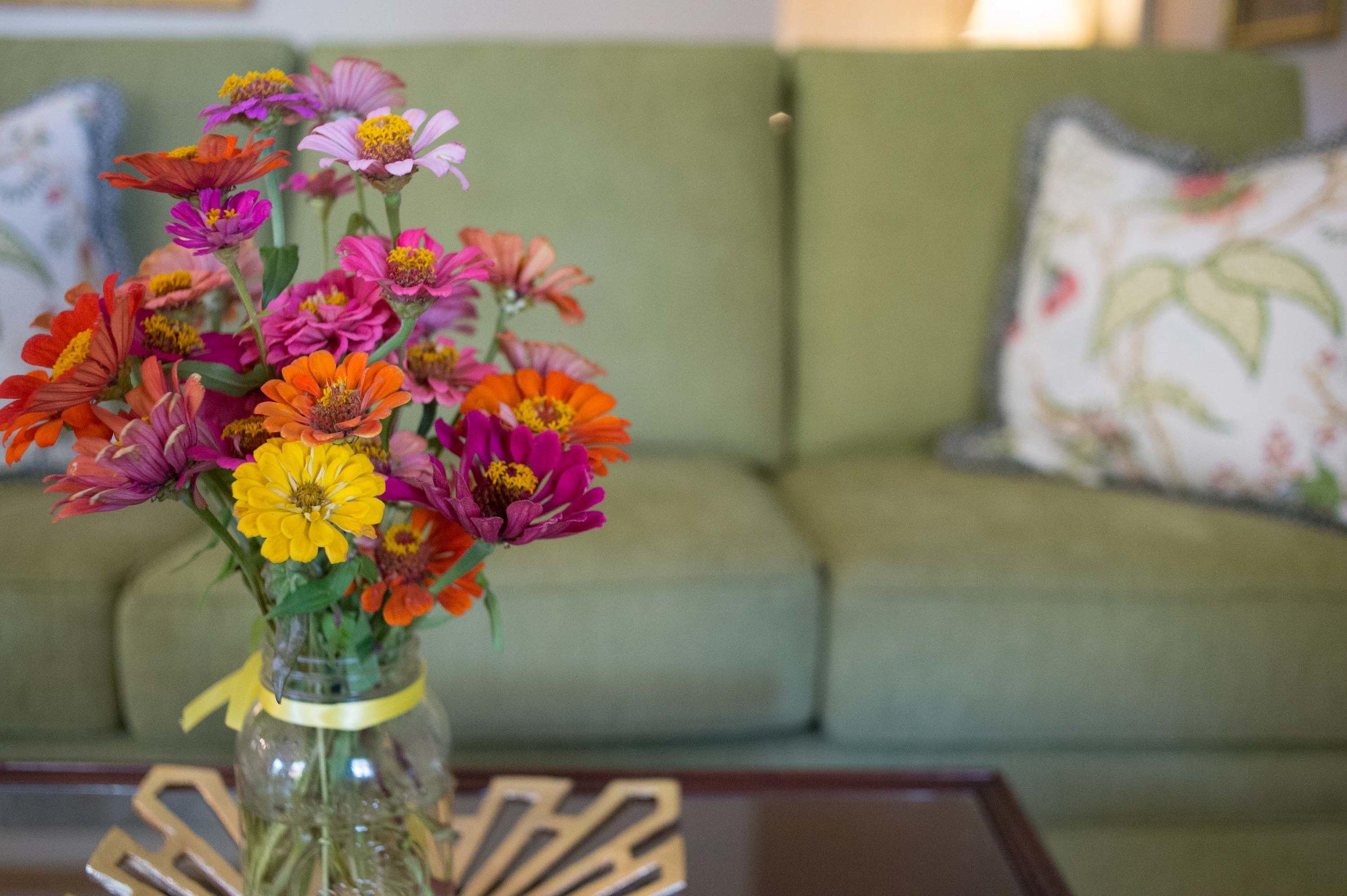 Fresh Flowers with Custom Sofa and Coffee Table