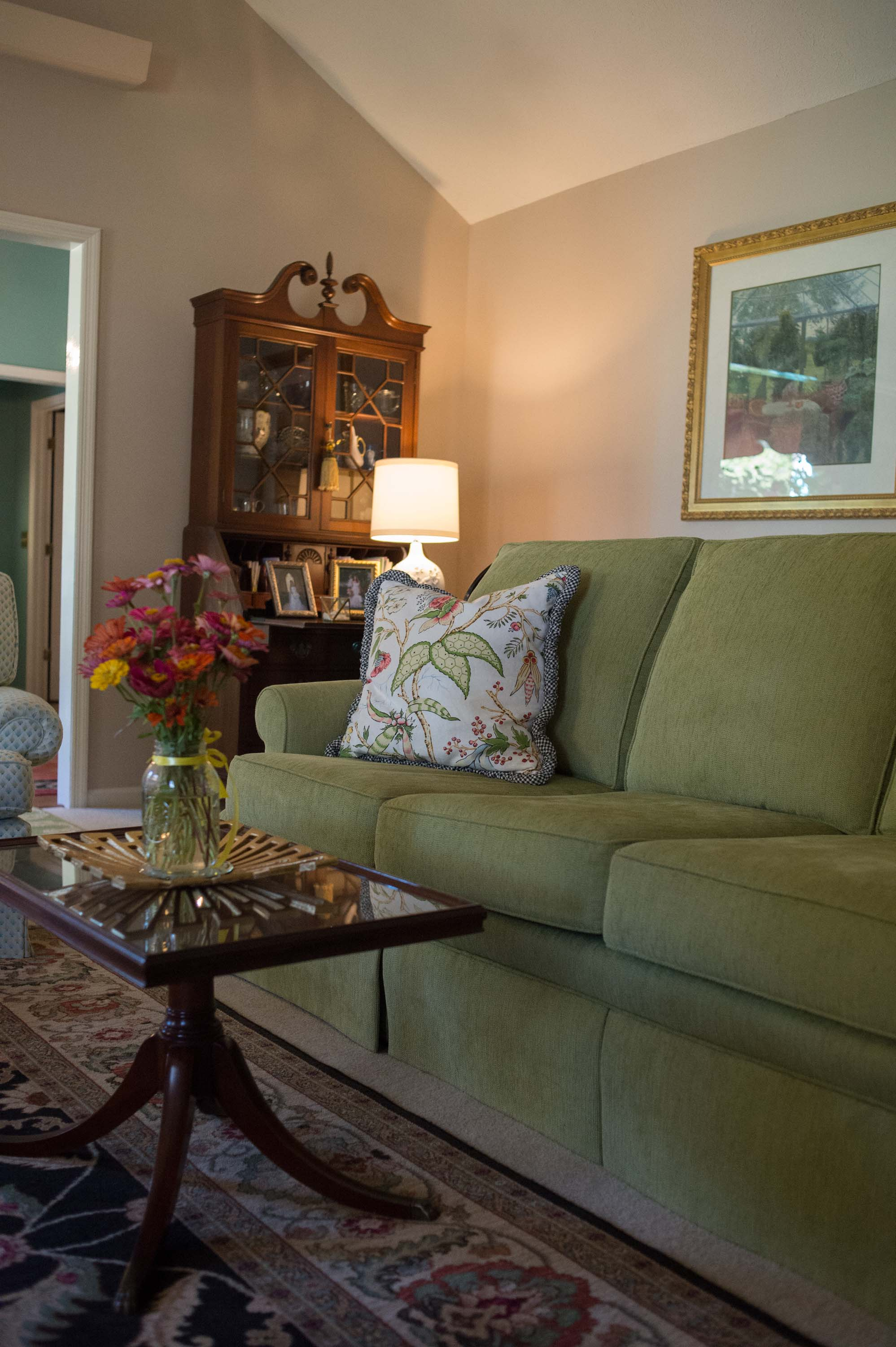 Wooden Coffee Table with Custom Sofa and Secretary