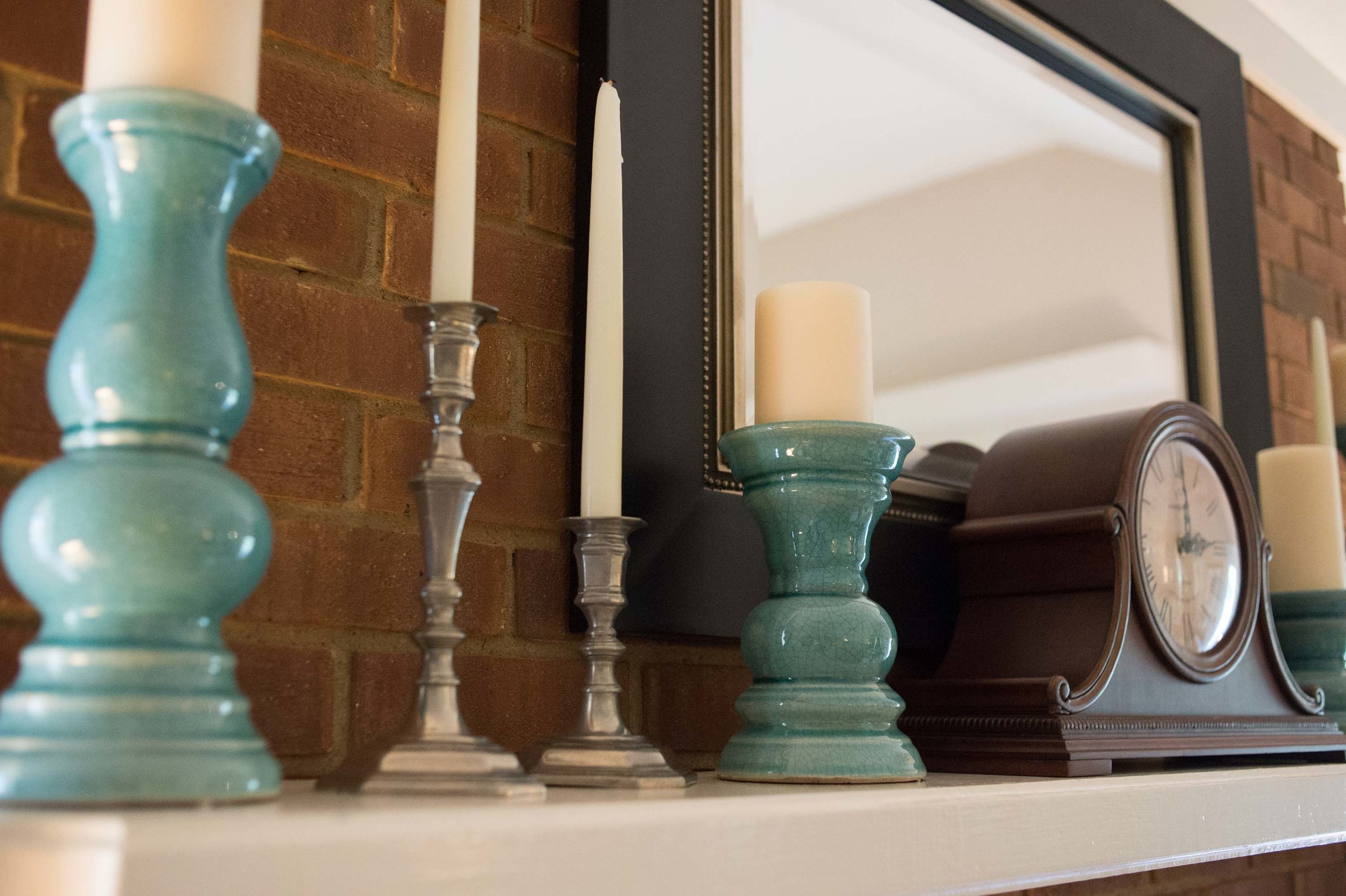 Fireplace Accessories that include Candlesticks and Mirror