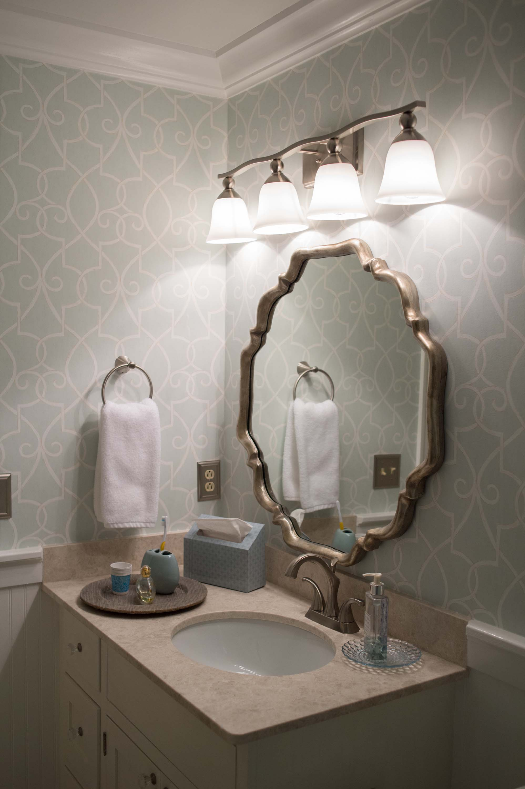 Guest Bathroom with Thibaut Wallpaper, Light Fixture and Mirror