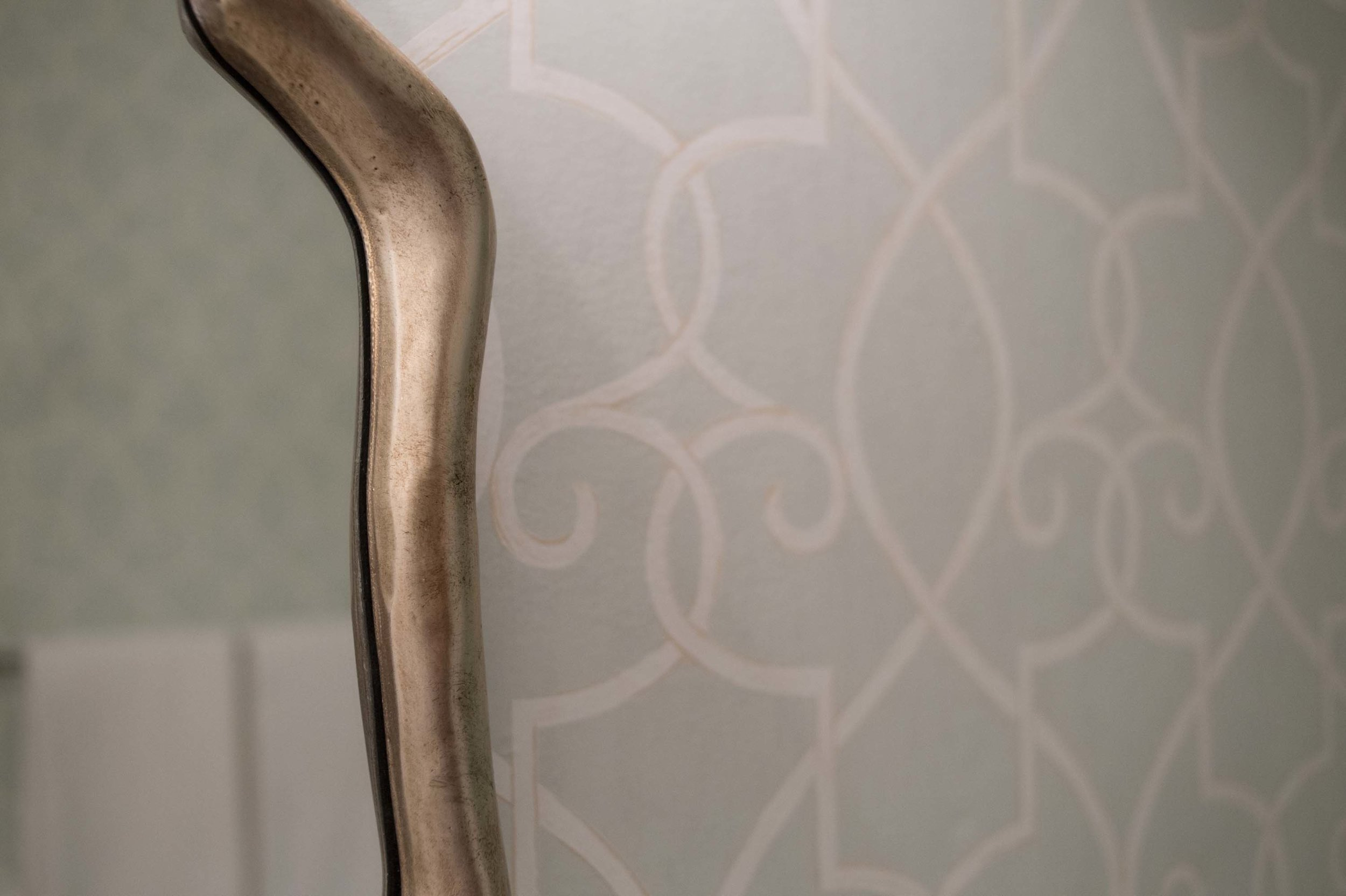 Thibaut Printed Wallpaper with Gold Leaf Mirror