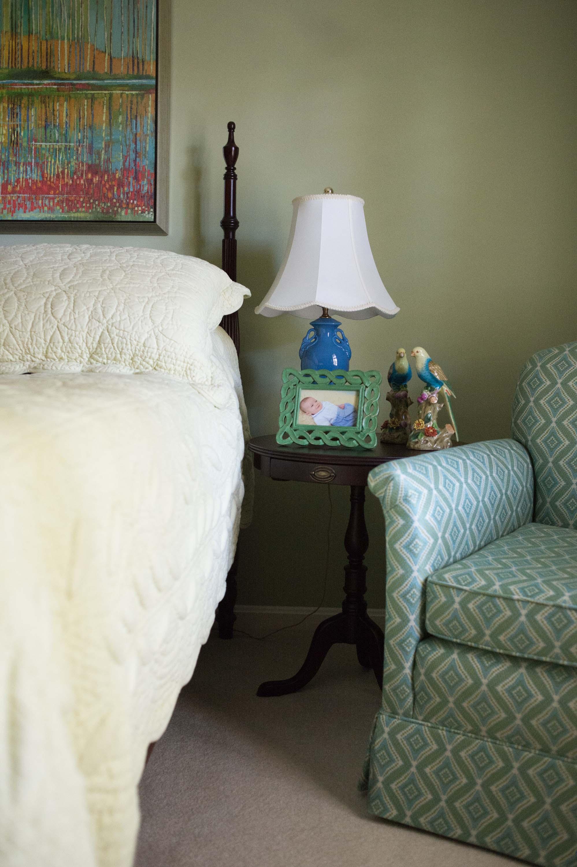 Guest Bedroom with Artwork, Coverlet & Custom Bedding