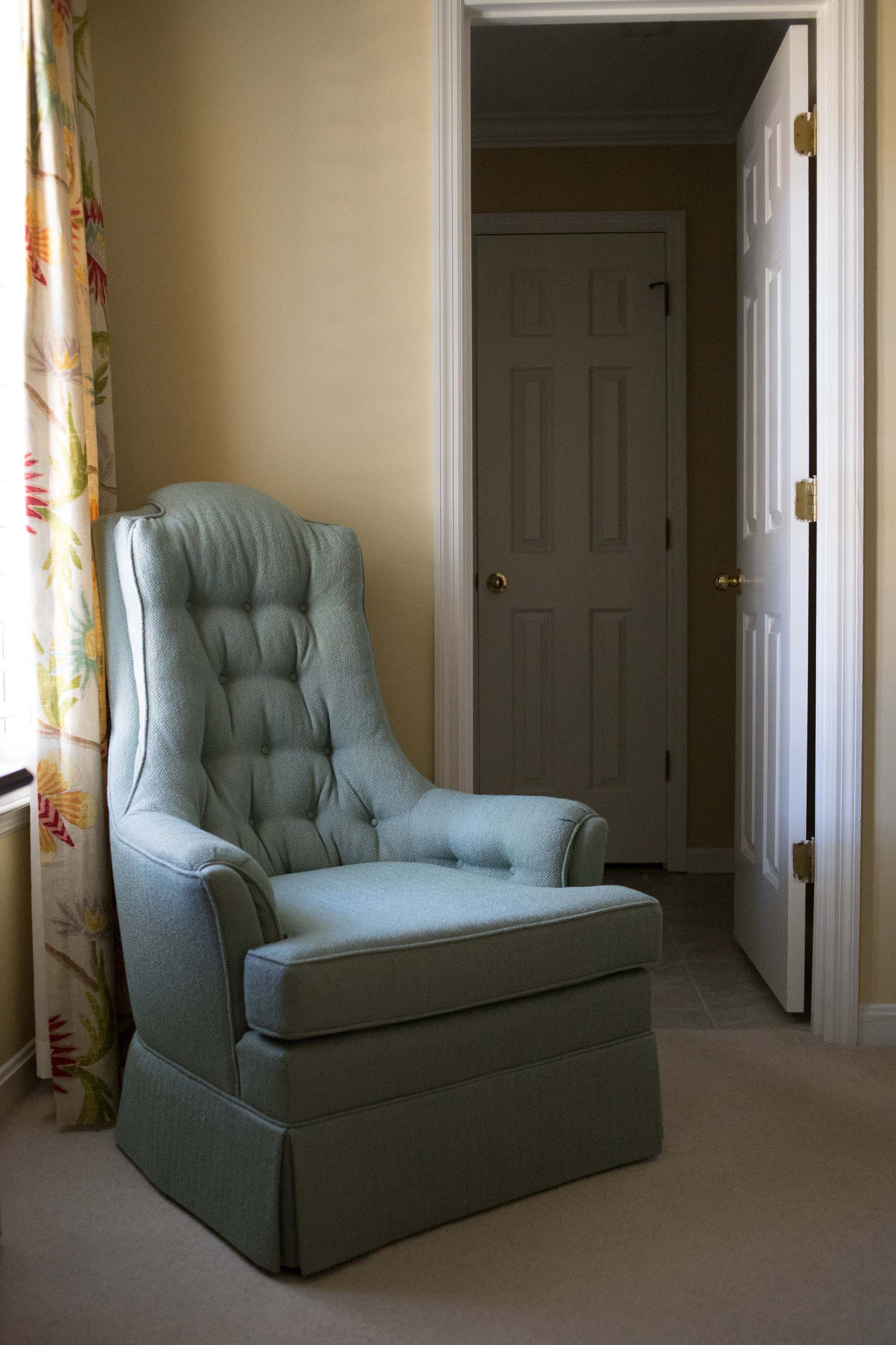 Recovered Chair with Custom Window Treatments