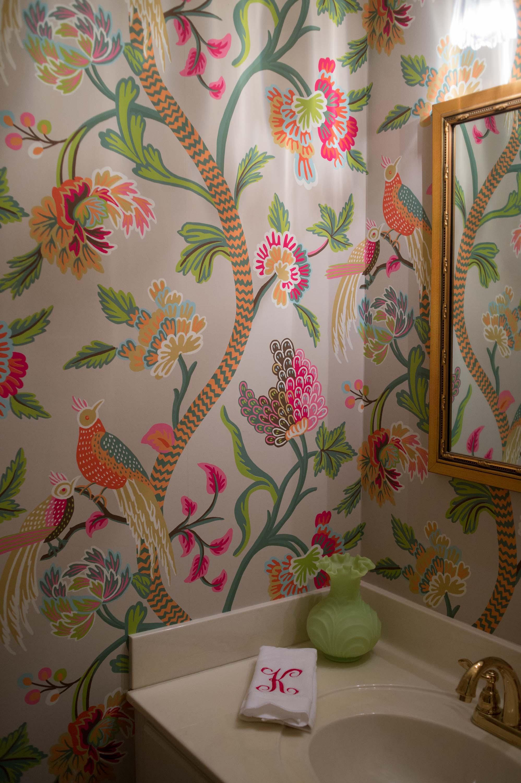 Thibaut Wallpaper in half bath