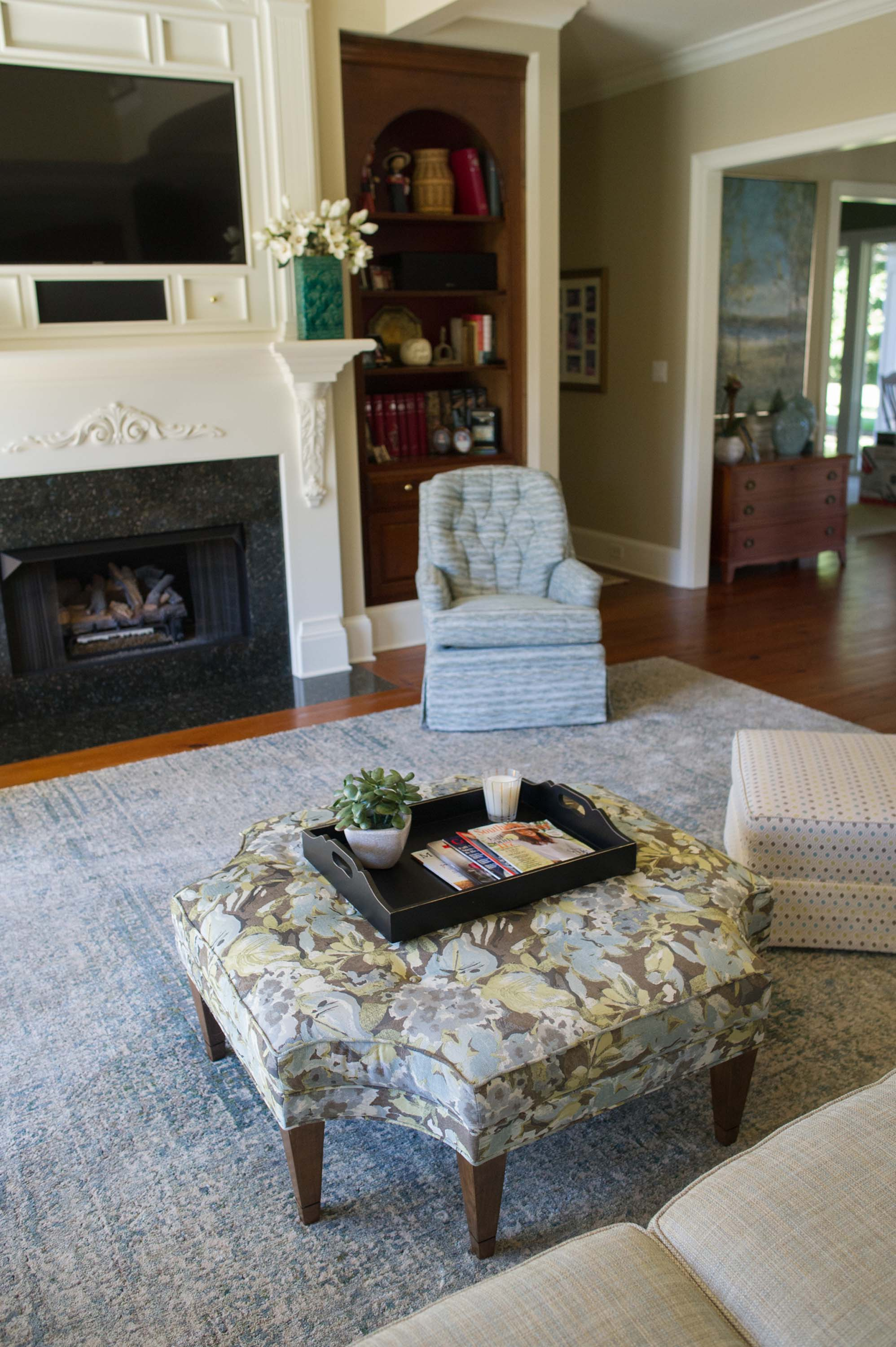 Great Room with Custom Furniture, Large Area Rug, Fireplace and Accessories