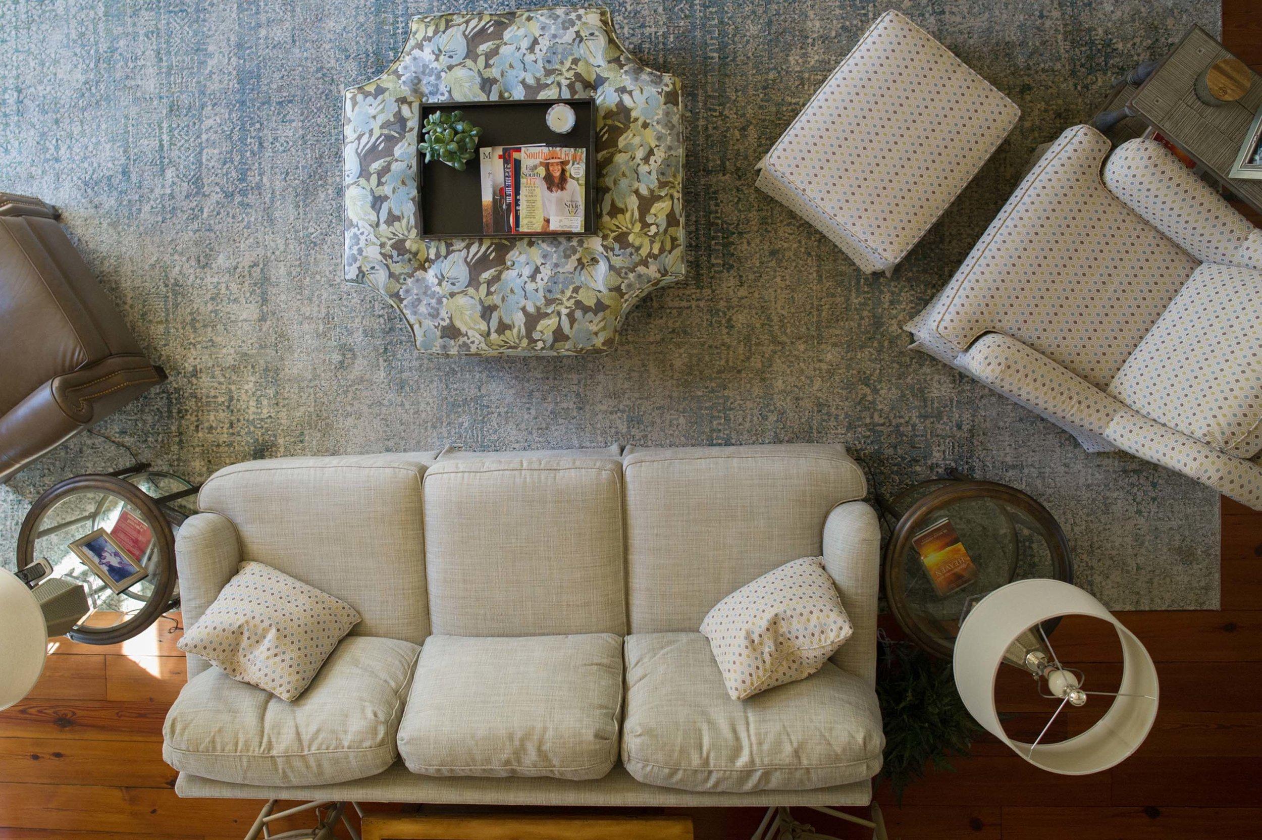 Overhead Shot of Sherrill Sofa, Norwalk Ottoman, Sherrill Chair & Ottoman