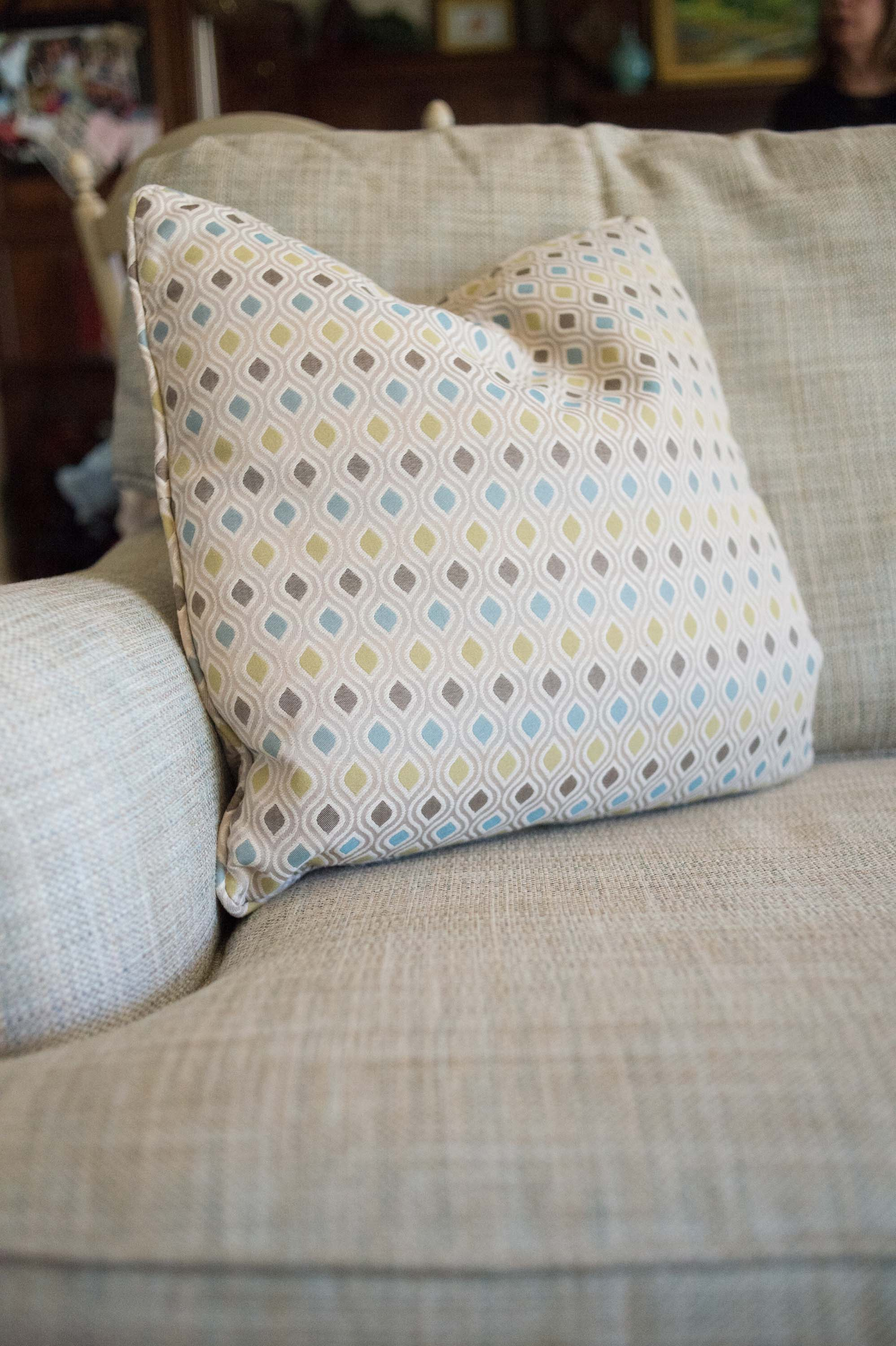 Sherrill Sofa with Printed Pillows