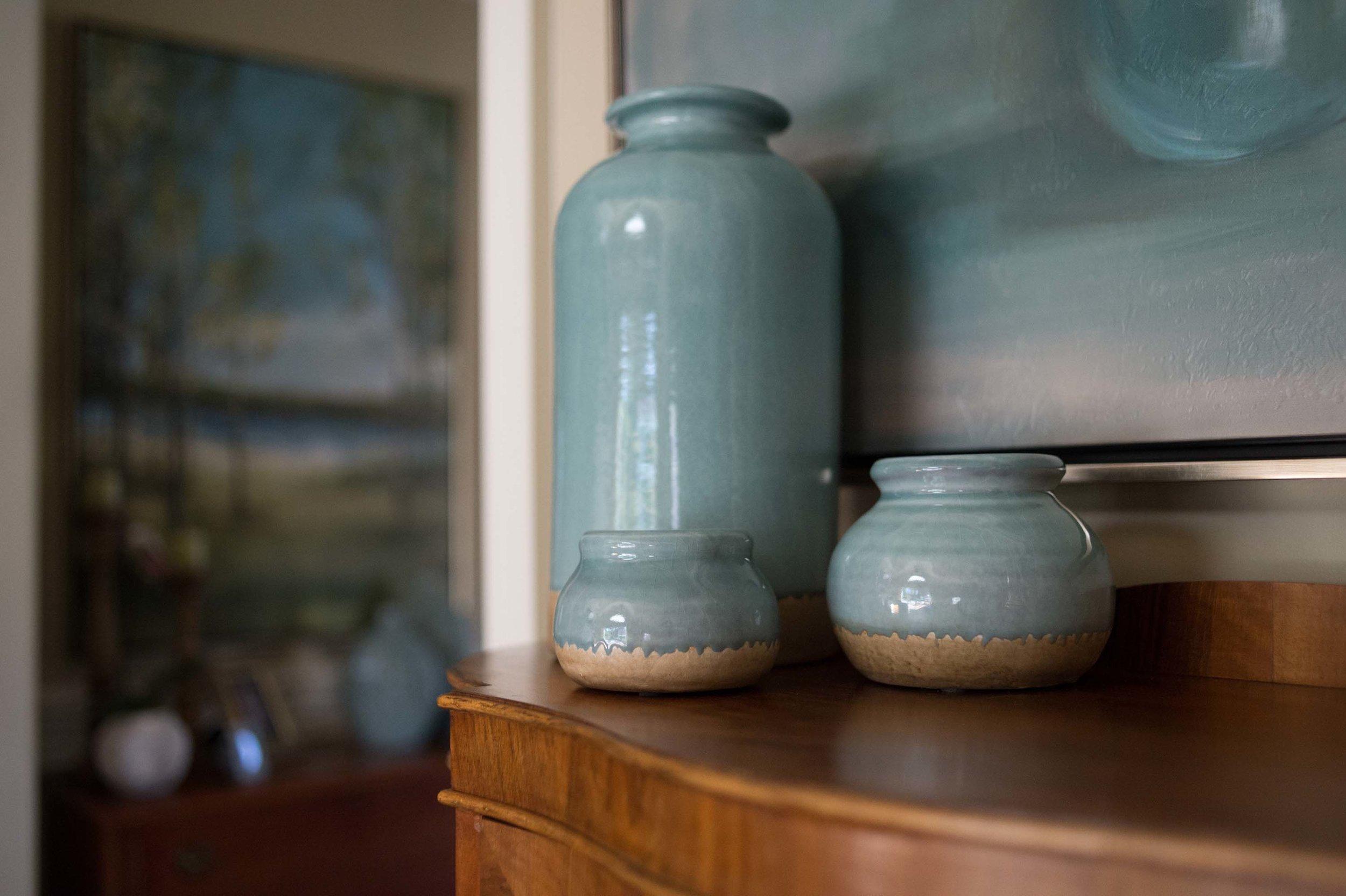Blue Vases with Tree Artwork