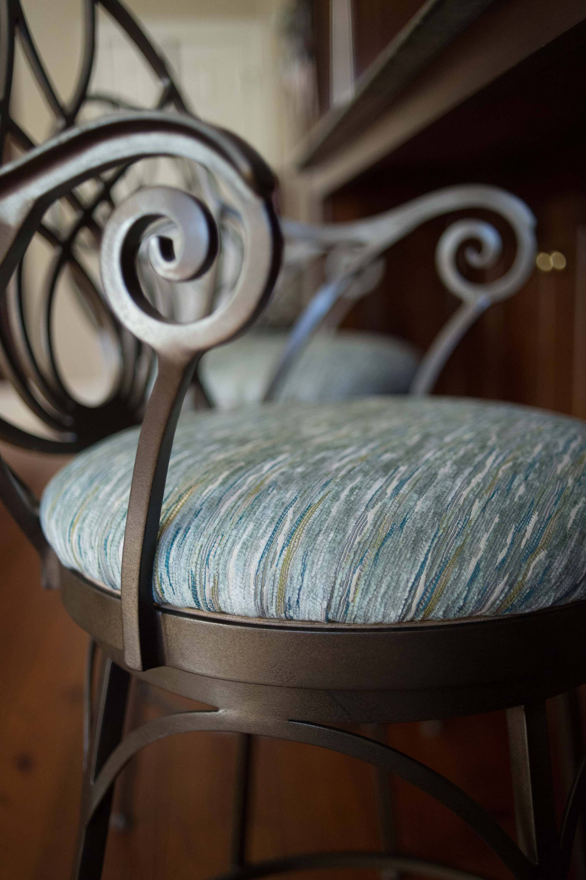 Reupholstered Barstool in Stripe Fabric