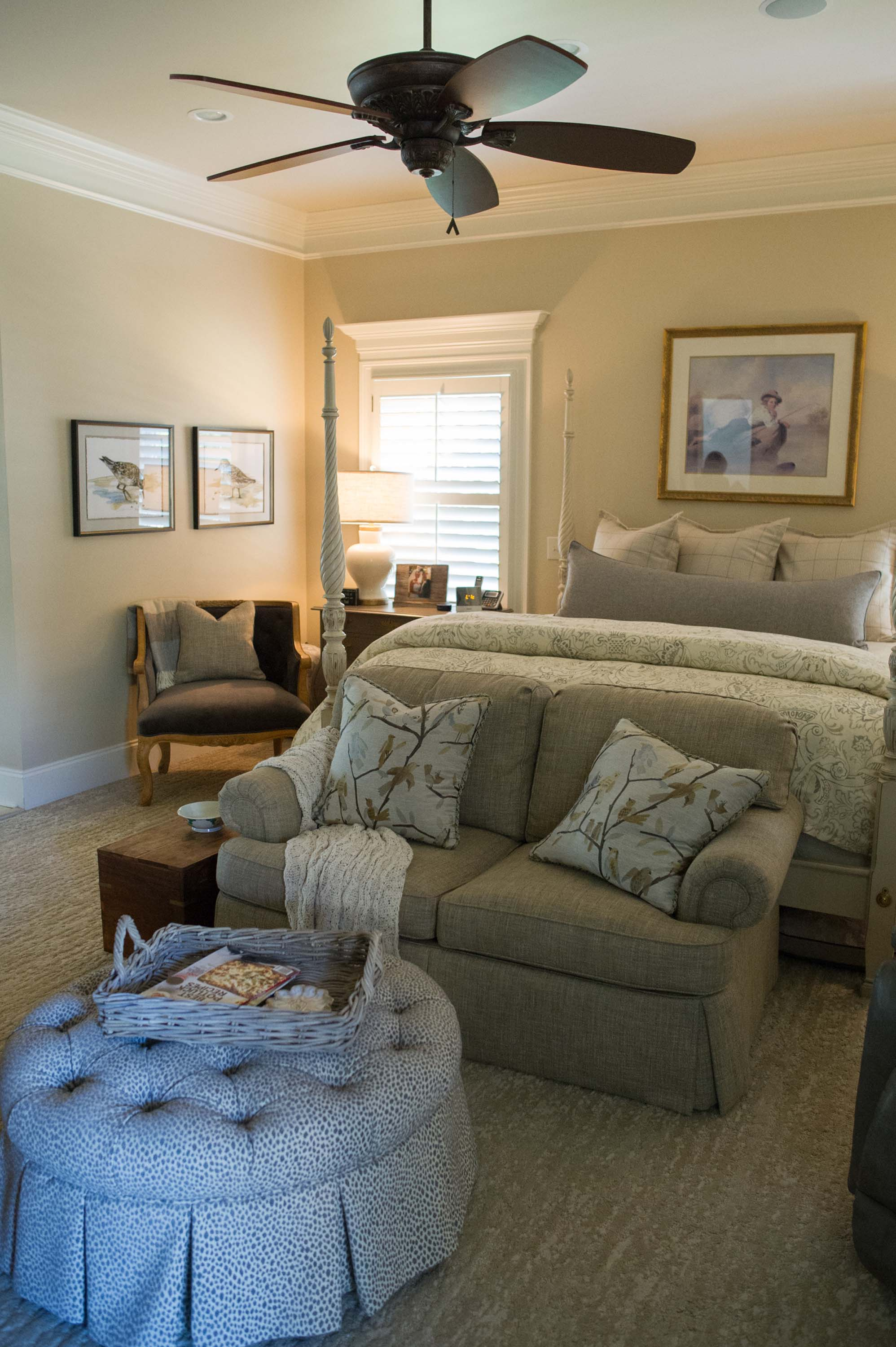 Master Bedroom with Custom Loveseat, Pillows and Recovered Ottoman