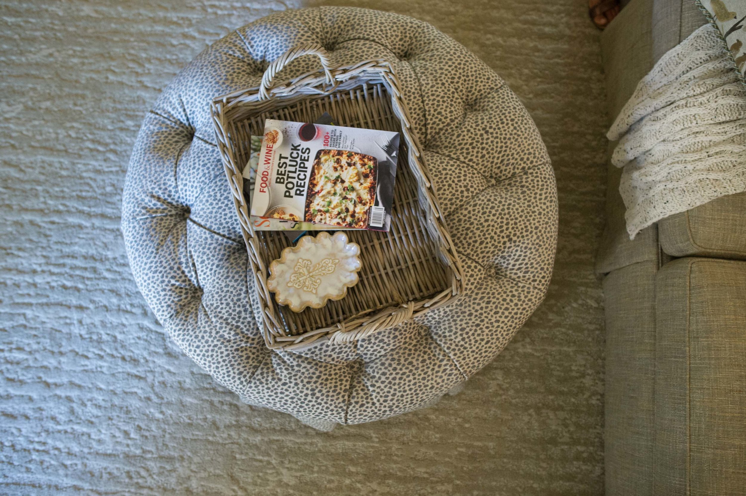 Reupholstered Ottoman in Lee Jofa Fabric