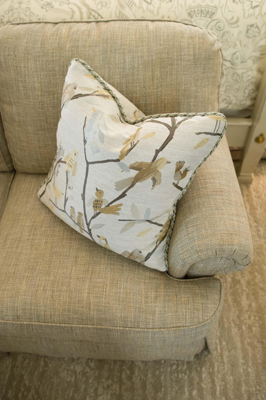 Norwalk Bird Pillows on Custom Loveseat
