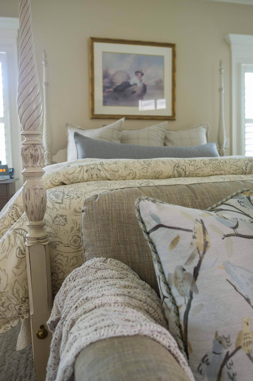 Detail Shot of Duvet, Pillows, Painted Bed