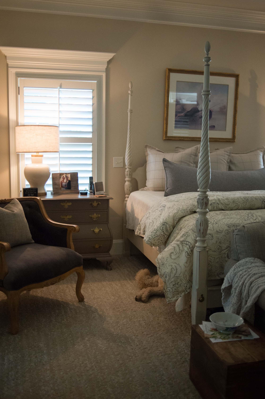 Custom Bedding, Lamp, Artwork, Recovered Chair