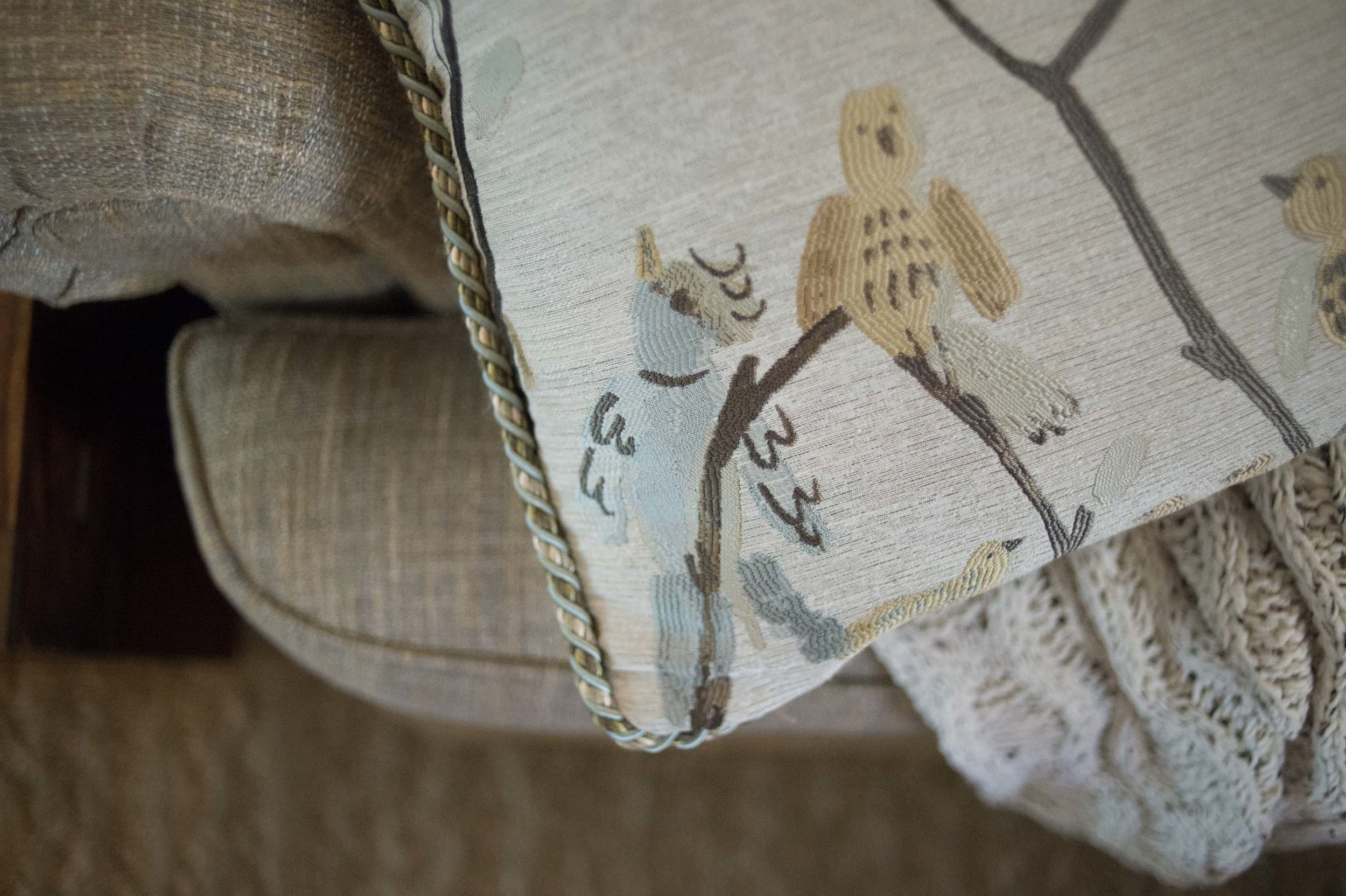 Detailed Shot of Pillow Fabric, Trim & Sofa Fabric