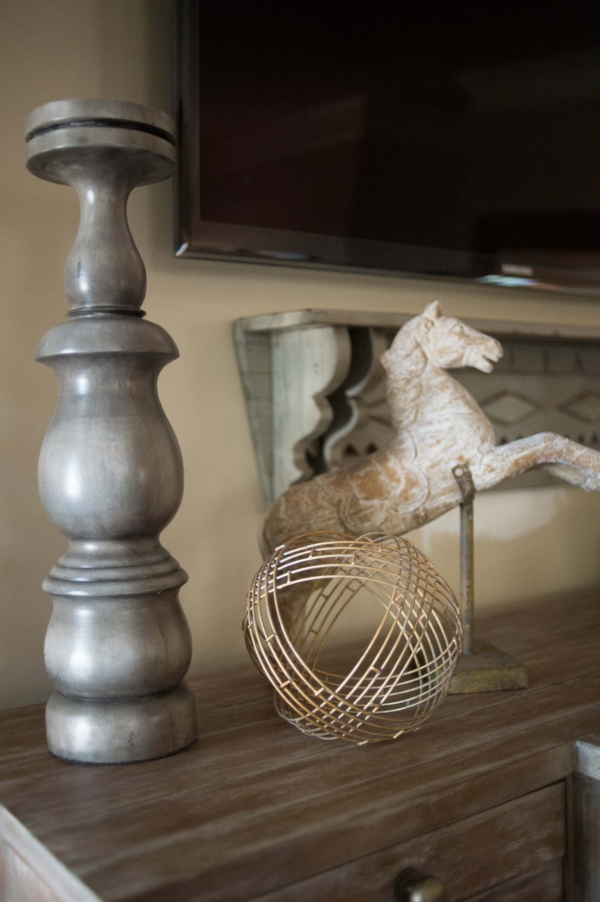 Accessories to include horse, Candlesticks