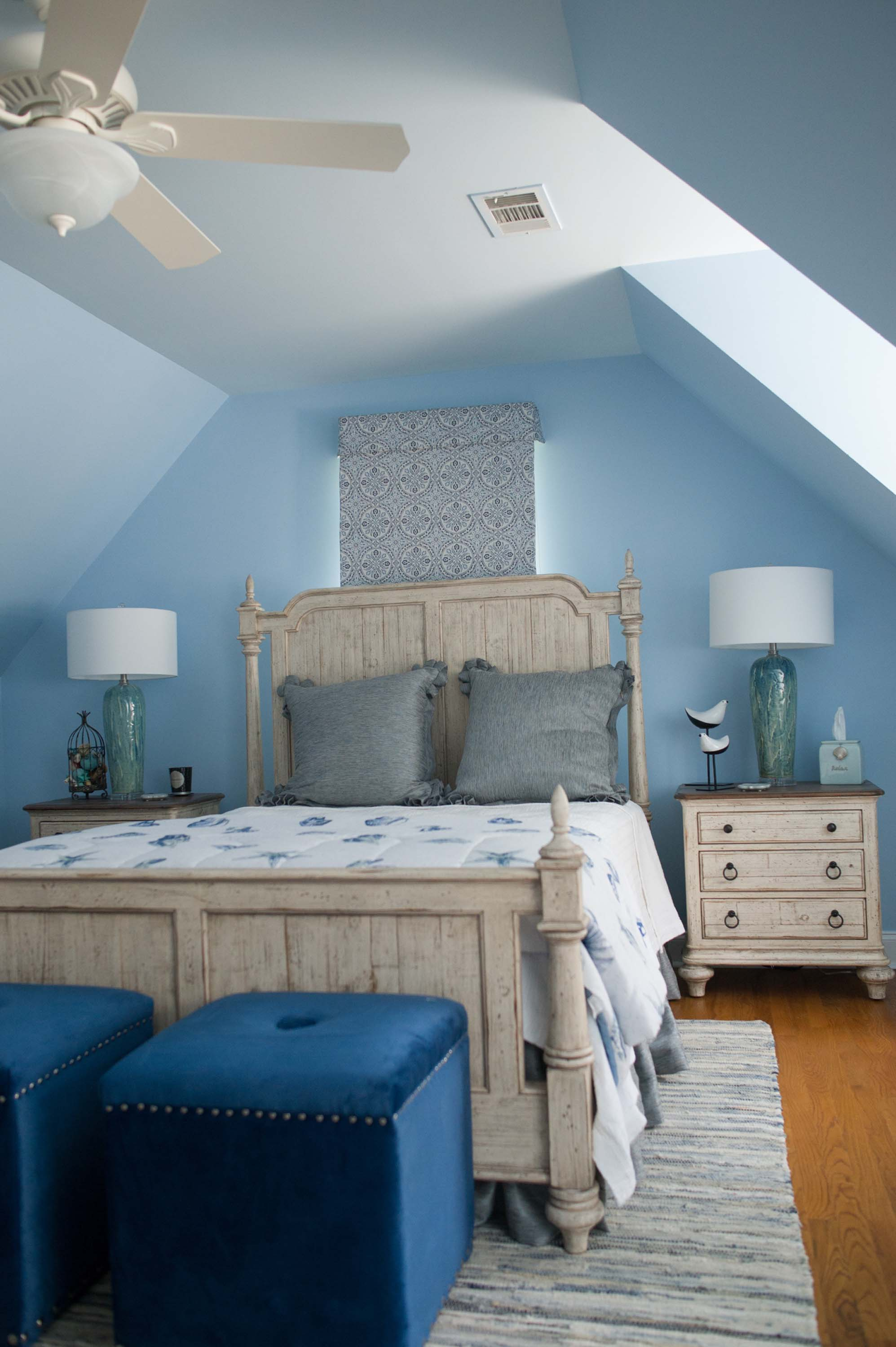 Custom Bedding with Wooden Furniture and Lamps
