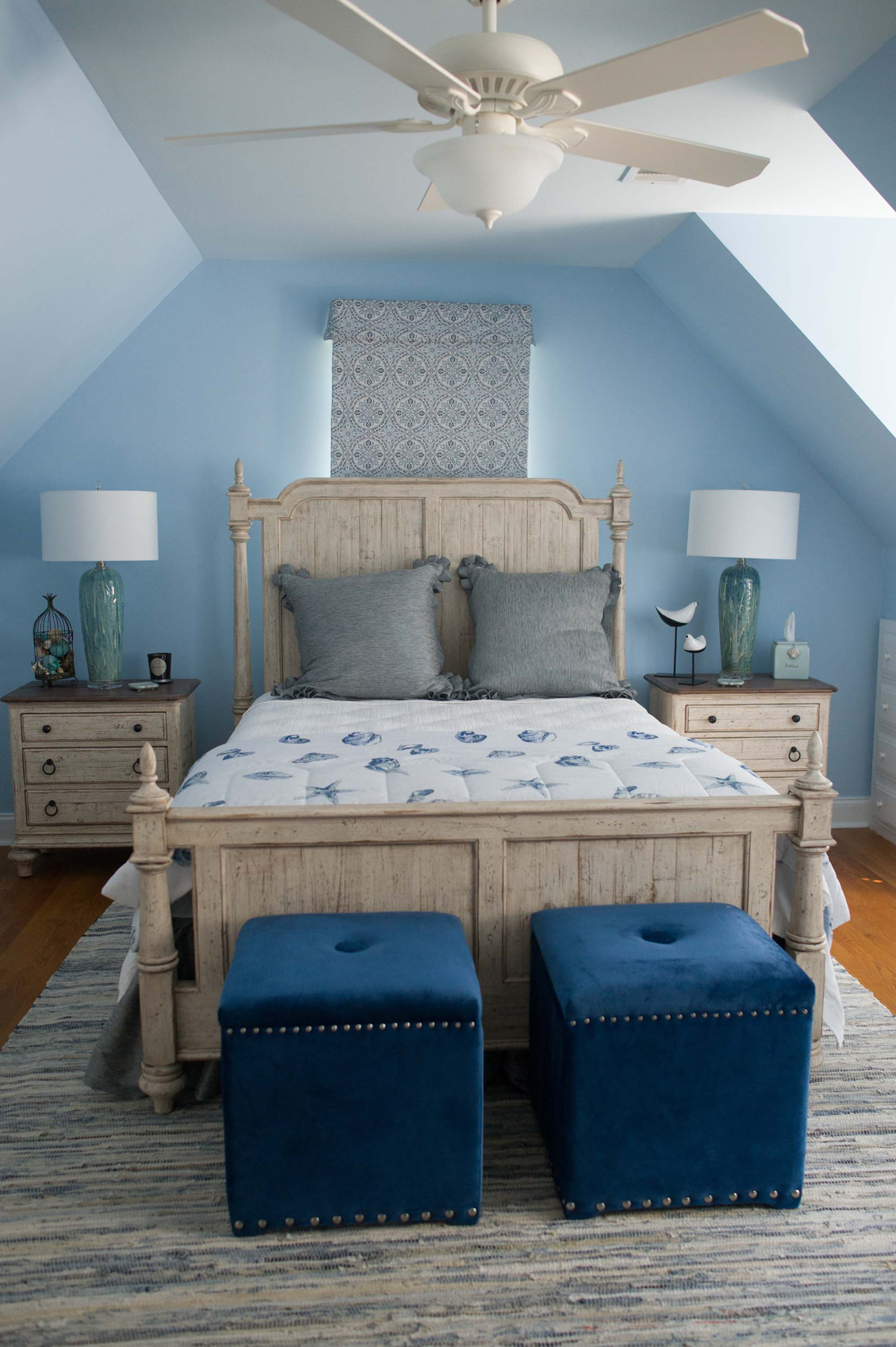 Blue Walls with Custom Bedding, Dash and Albert Rug and Lamps