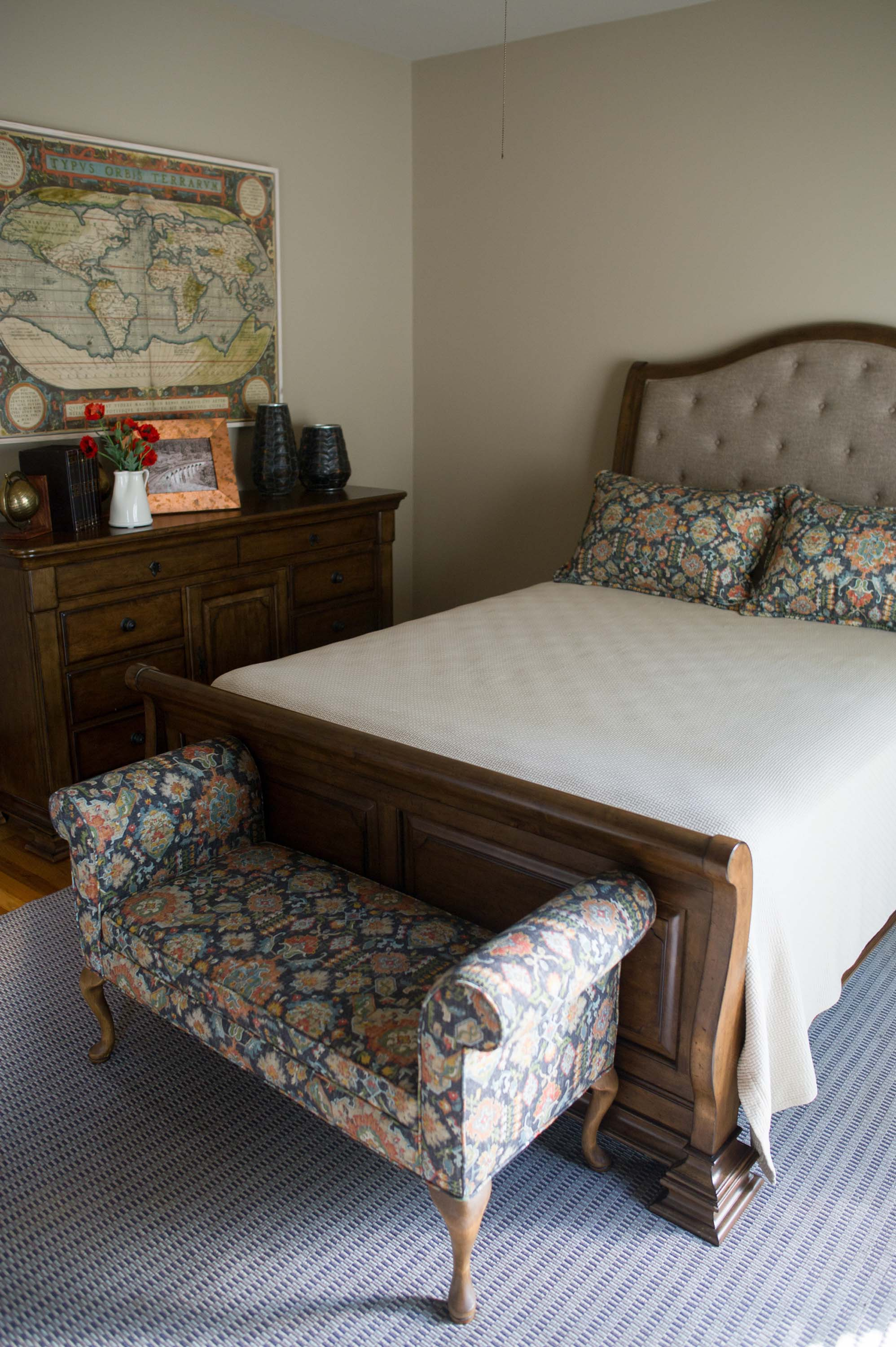 Guest Bedroom with Custom Bedding and Map